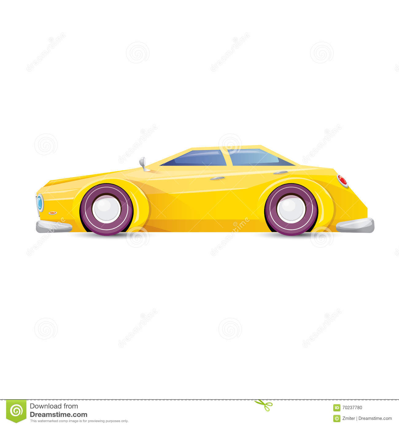 vector cartoon orange car on white vector illustration 70237780. Black Bedroom Furniture Sets. Home Design Ideas