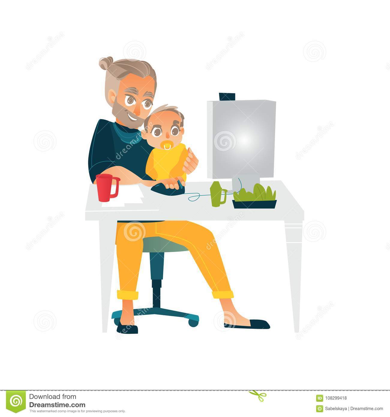 Vector Flat People Working From Home, Remote Work Stock ...