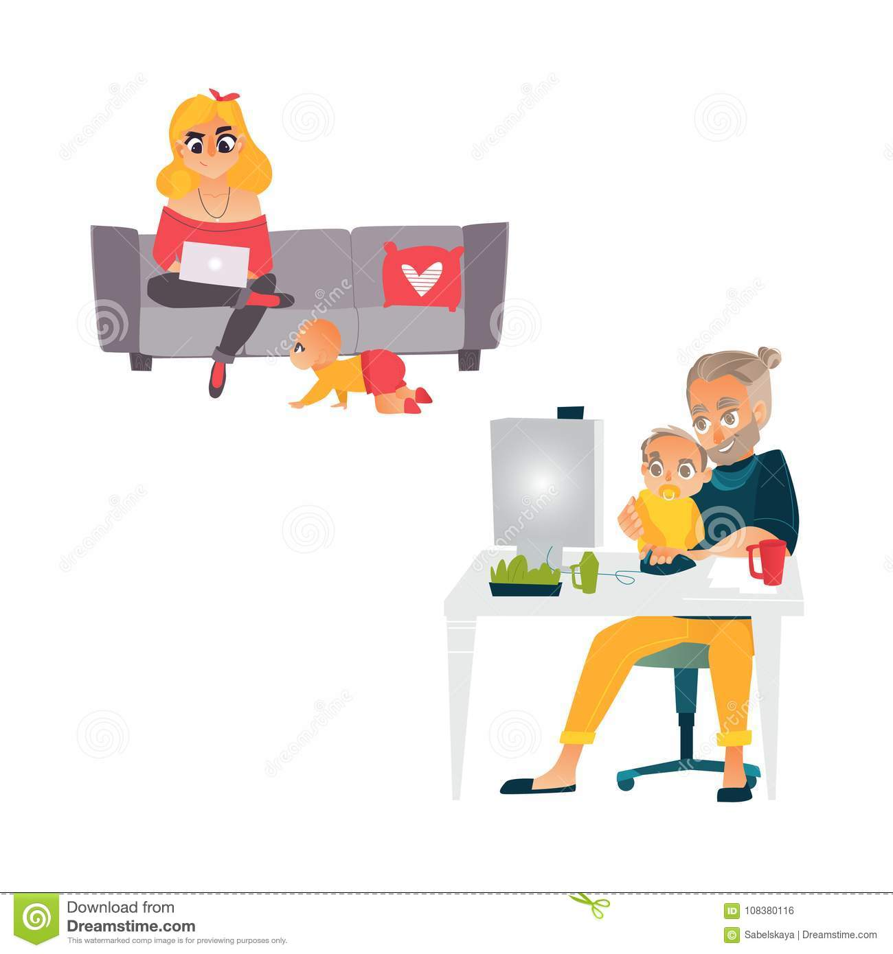 Vector People Working From Home, Remote Work Set Stock ...
