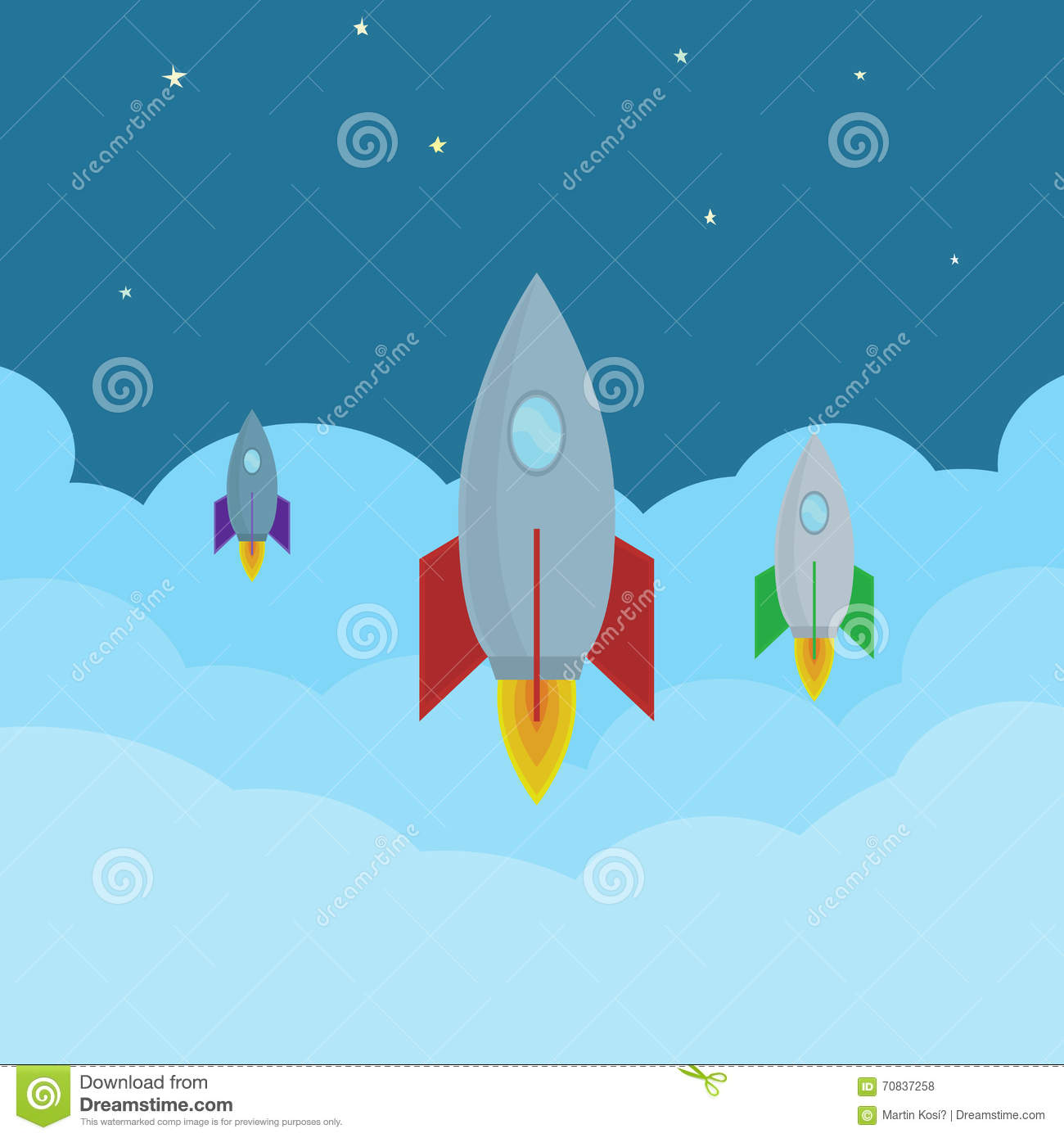 vector cartoon rockets flying in clouds into the space abstract
