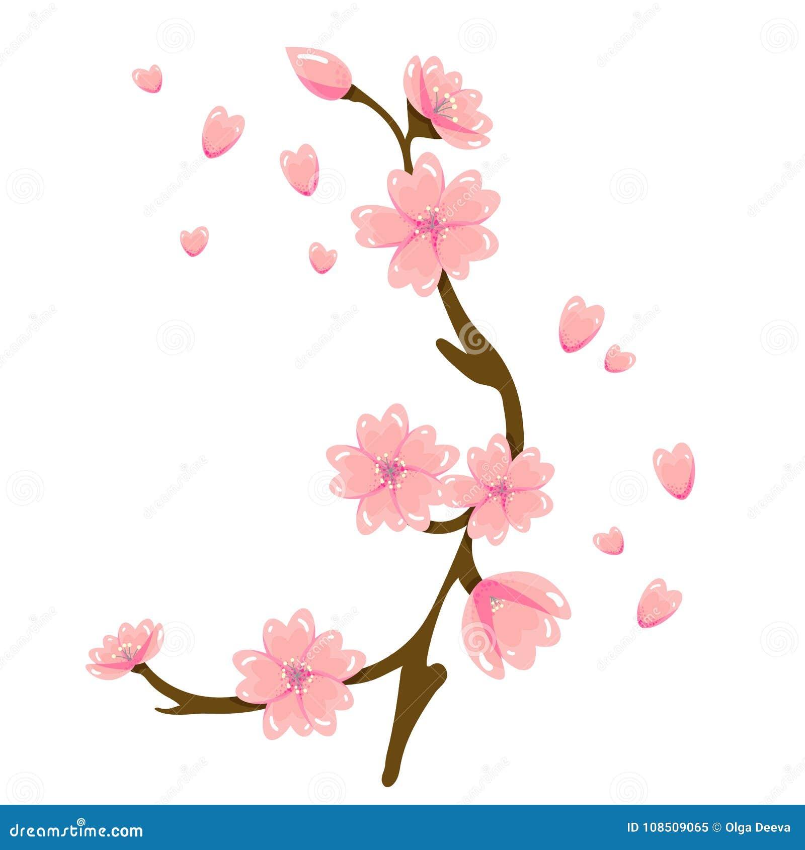 Cartoon Sakura Spring Flower Illustration Stock Vector