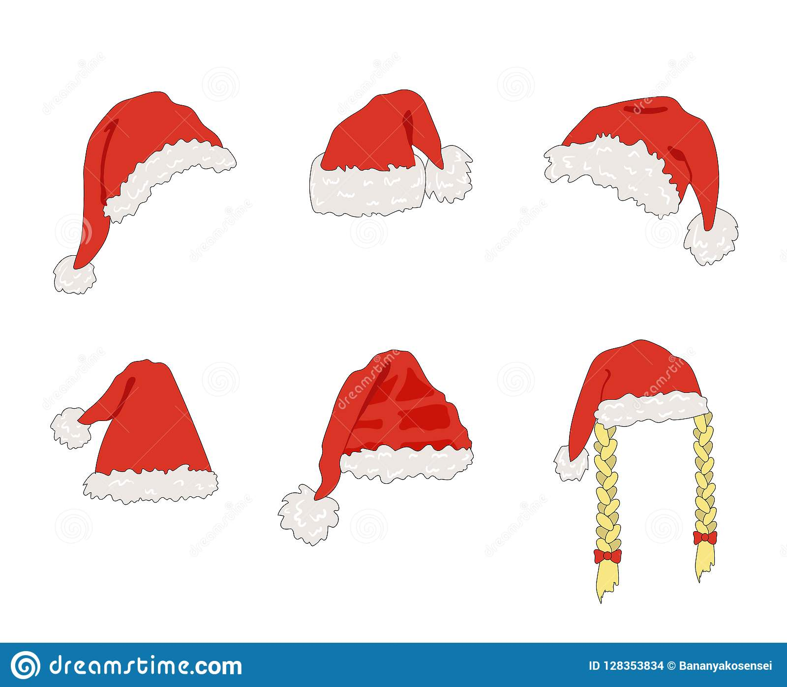 Vector Cartoon Santa Hats, Christmas Design Element, Set Isolated.