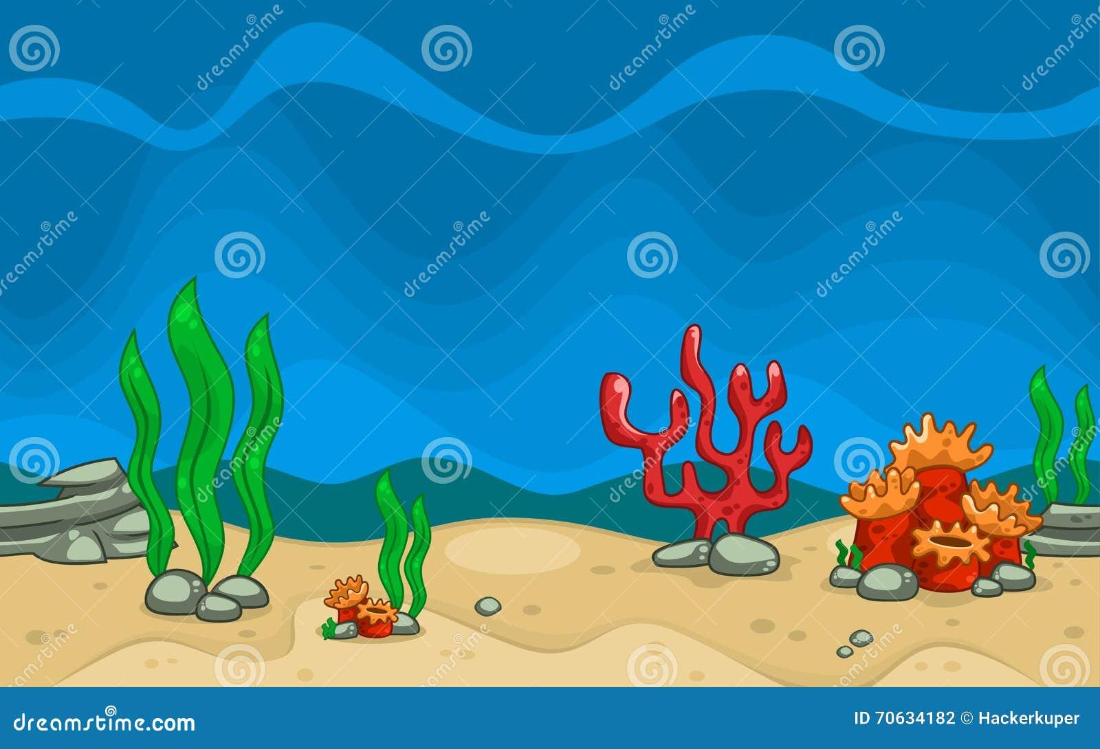 Vector Cartoon Sea Creature And Plant In Blue Underwater