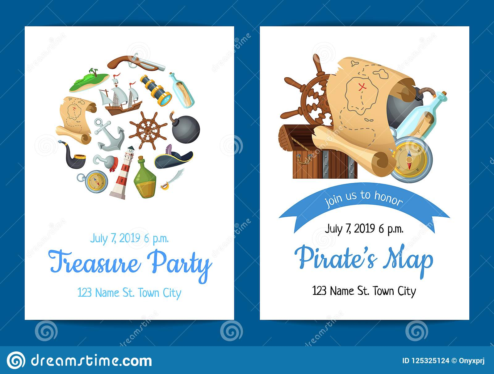 Vector Cartoon Sea Pirates Birthday Party Invitation Template ...
