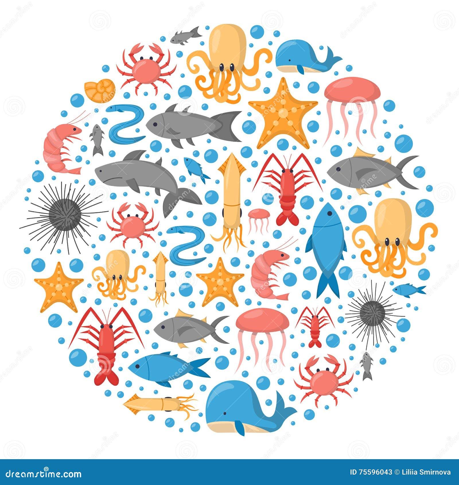 Children Book Cover Vector : Vector cartoon sea underwater creatures background stock