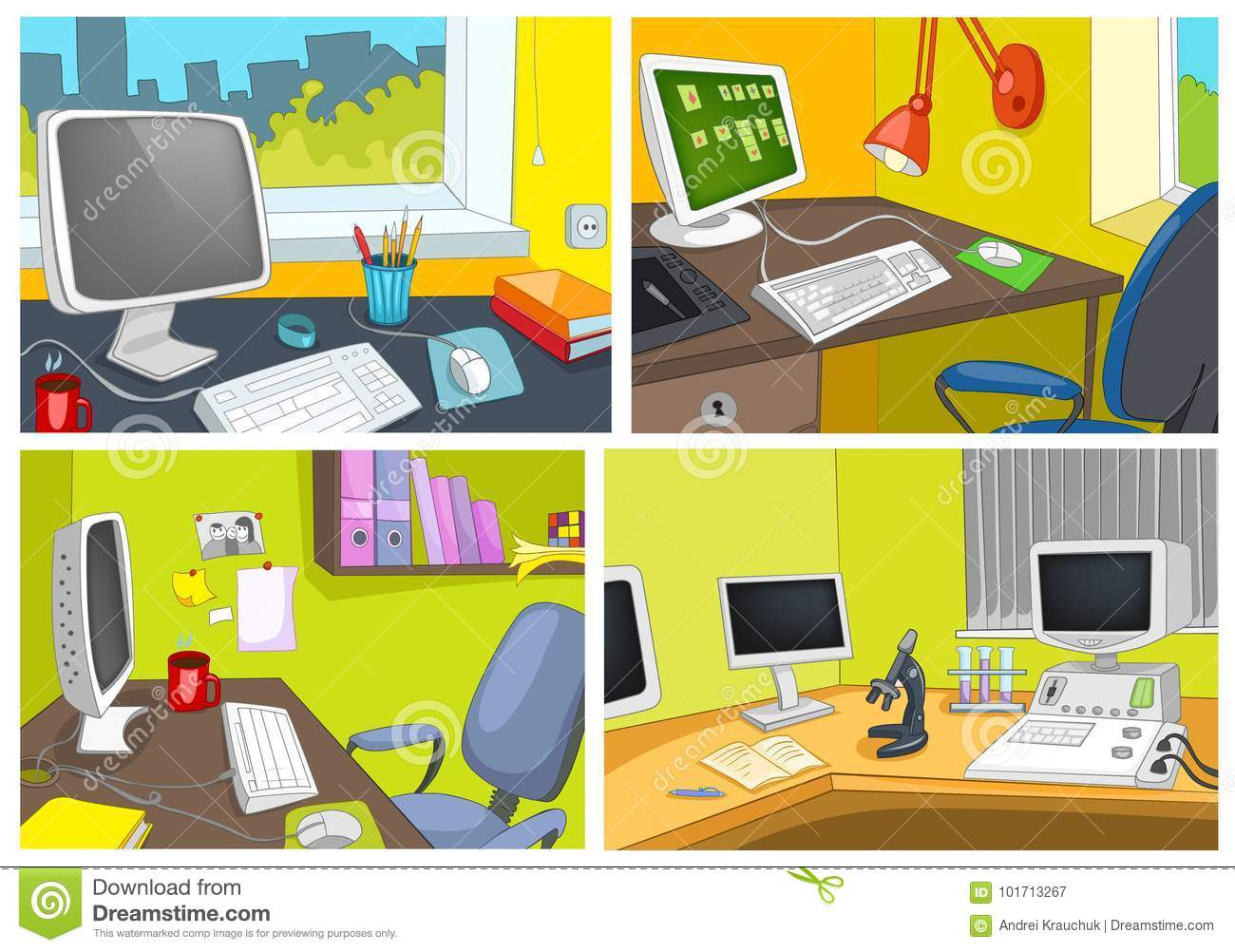 Vector Cartoon Set Of Office Workplace Backgrounds Stock Vector