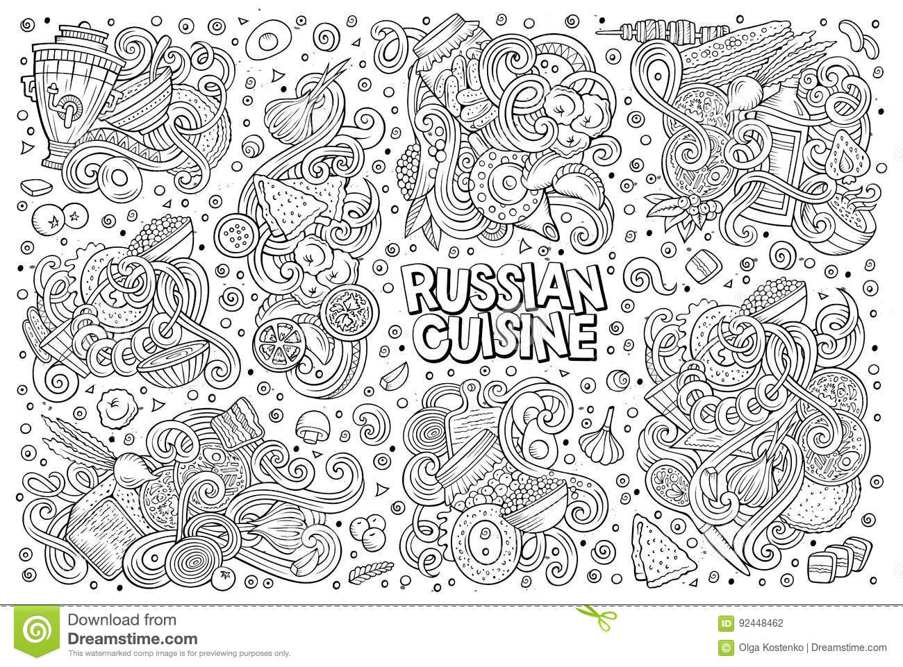 Abstract Vector Decorative Doodles Food