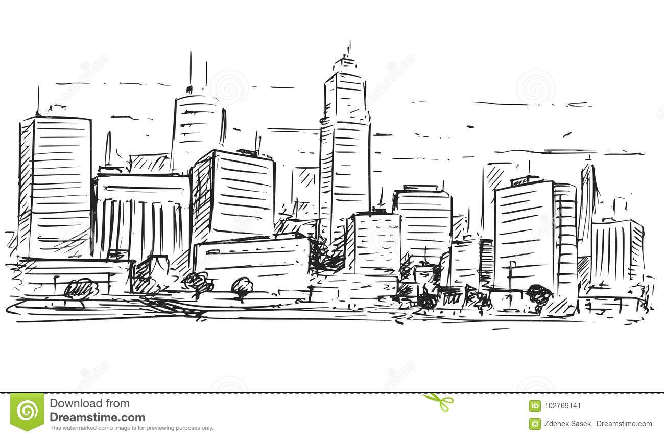Download Sketchy Drawing Of City High Rise Landscape Stock Vector
