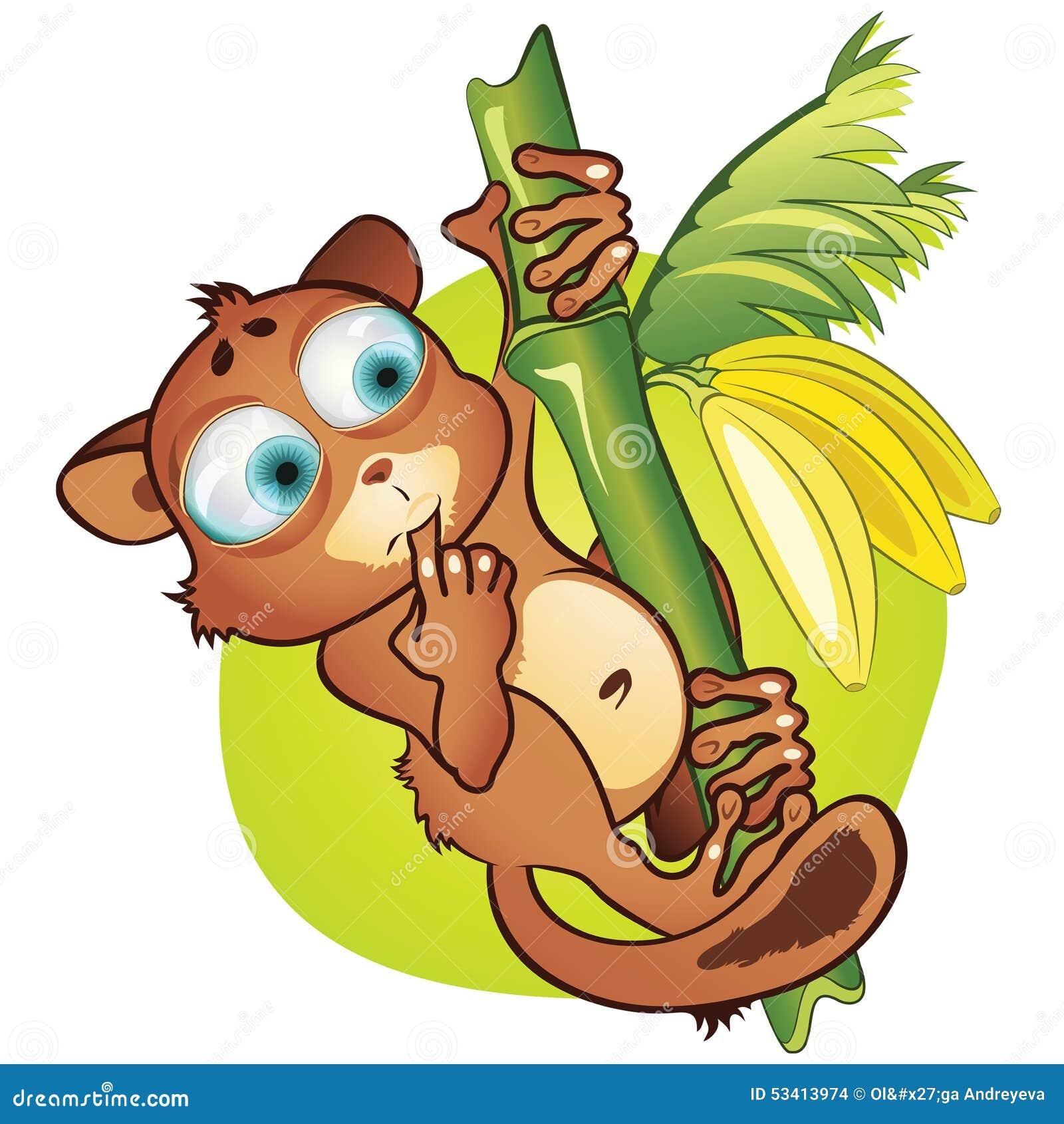 Vector Cartoon Small Mammal And Bananas Stock Vector ...