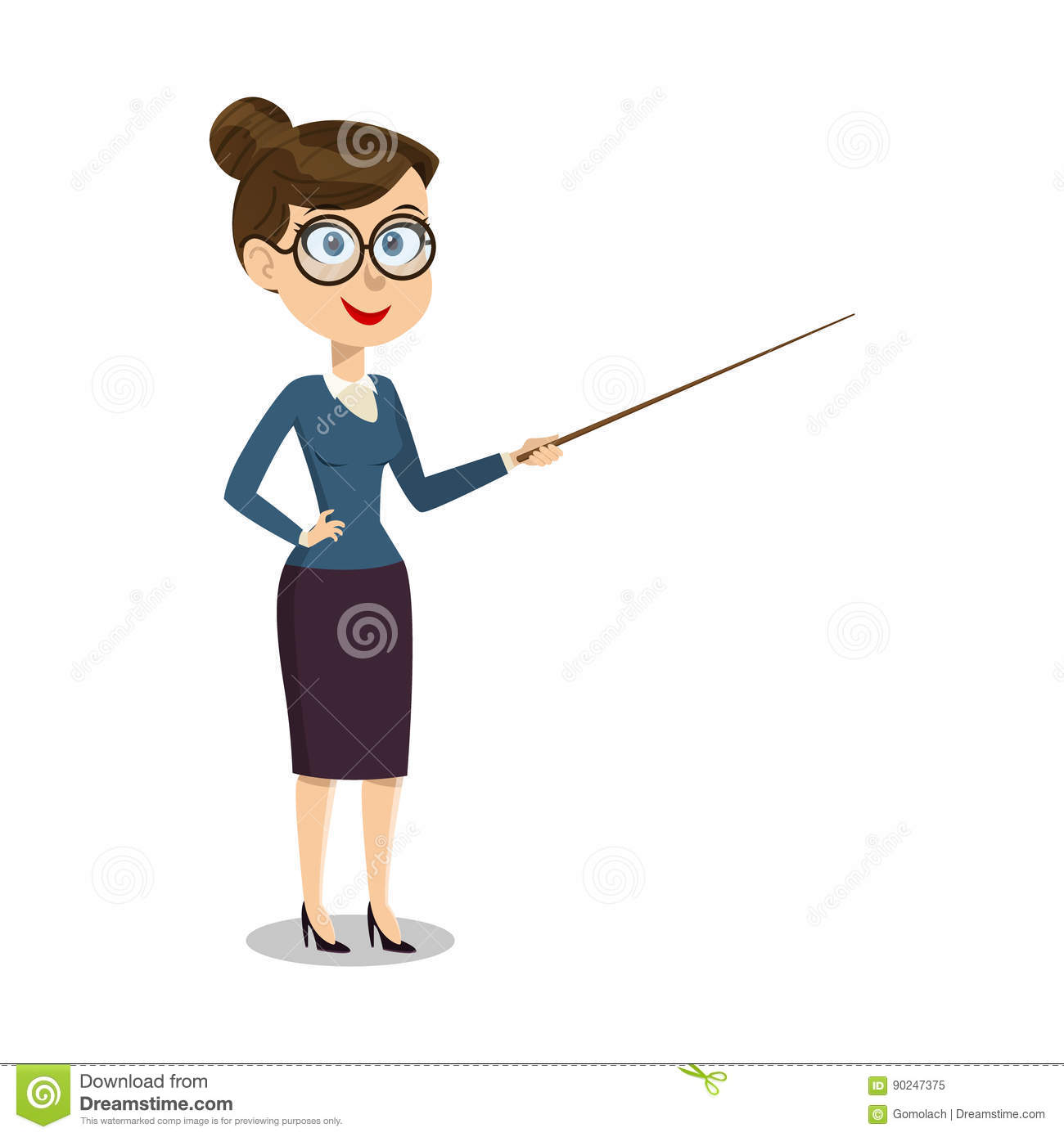 vector cartoon smiling female teacher with pointer on lesson at