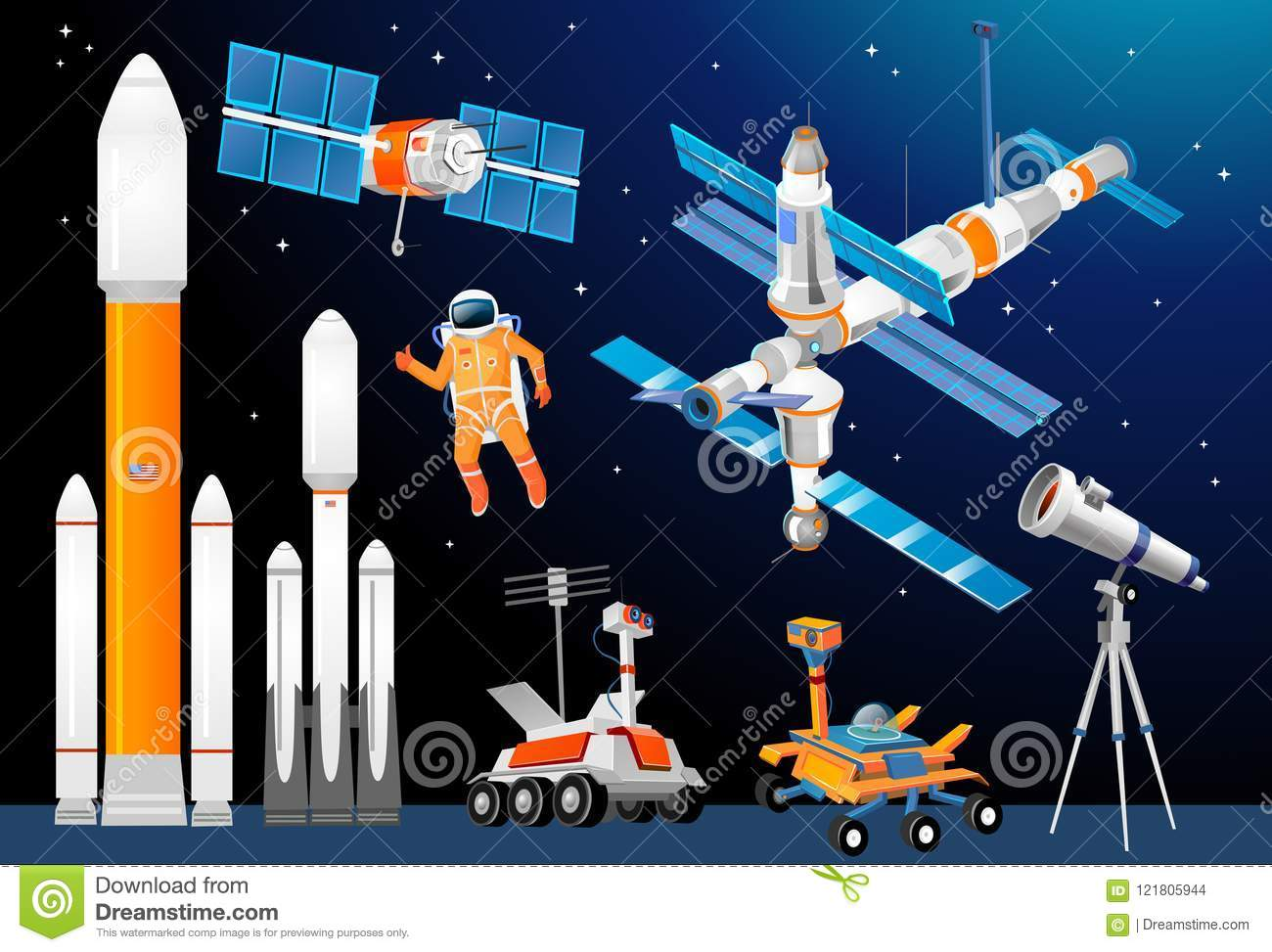 International Space Station And Astronaut. Stock