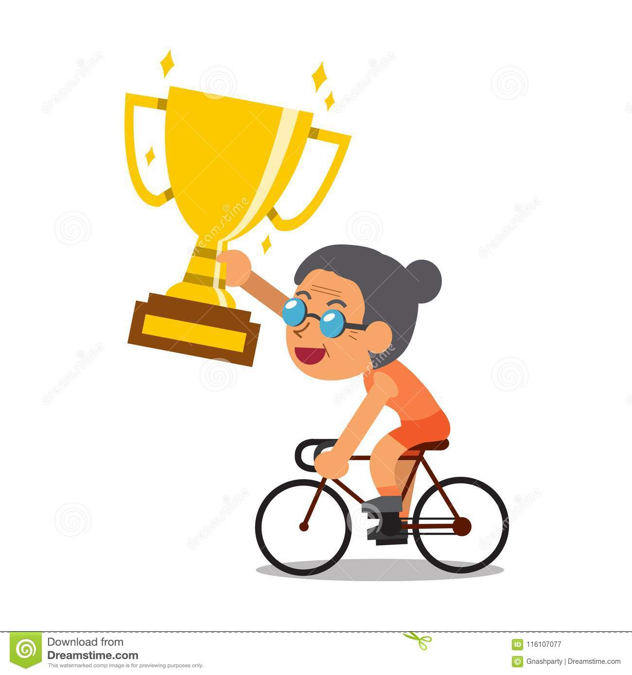 Download Vector Cartoon Sport Senior Woman Riding Bike And Holding Big Gold Trophy Cup Award Stock