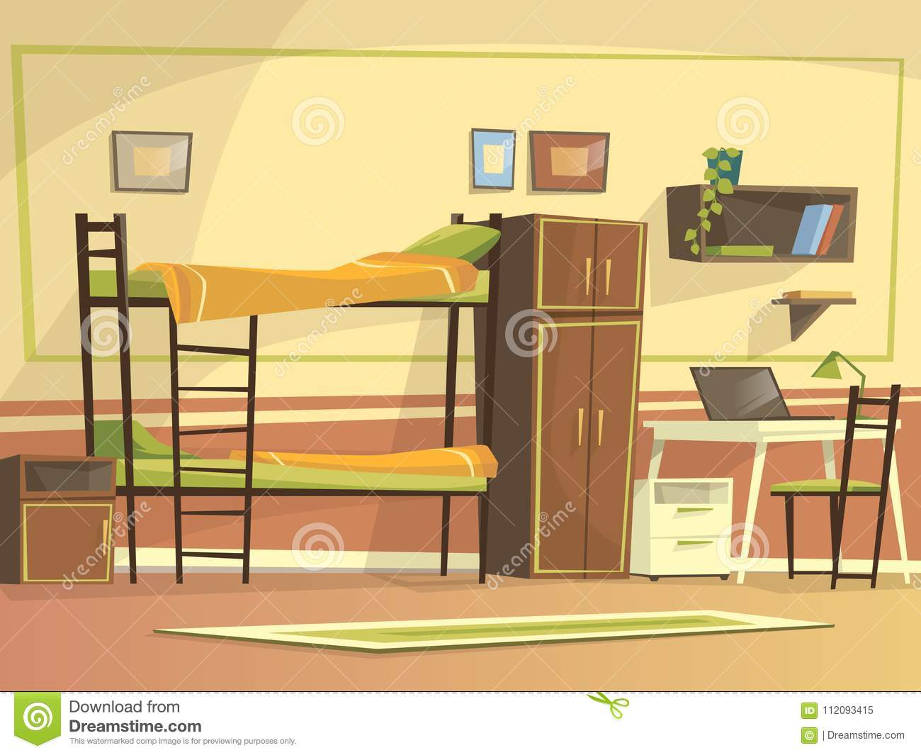 Vector Cartoon Student Dormitory Room Interior Stock