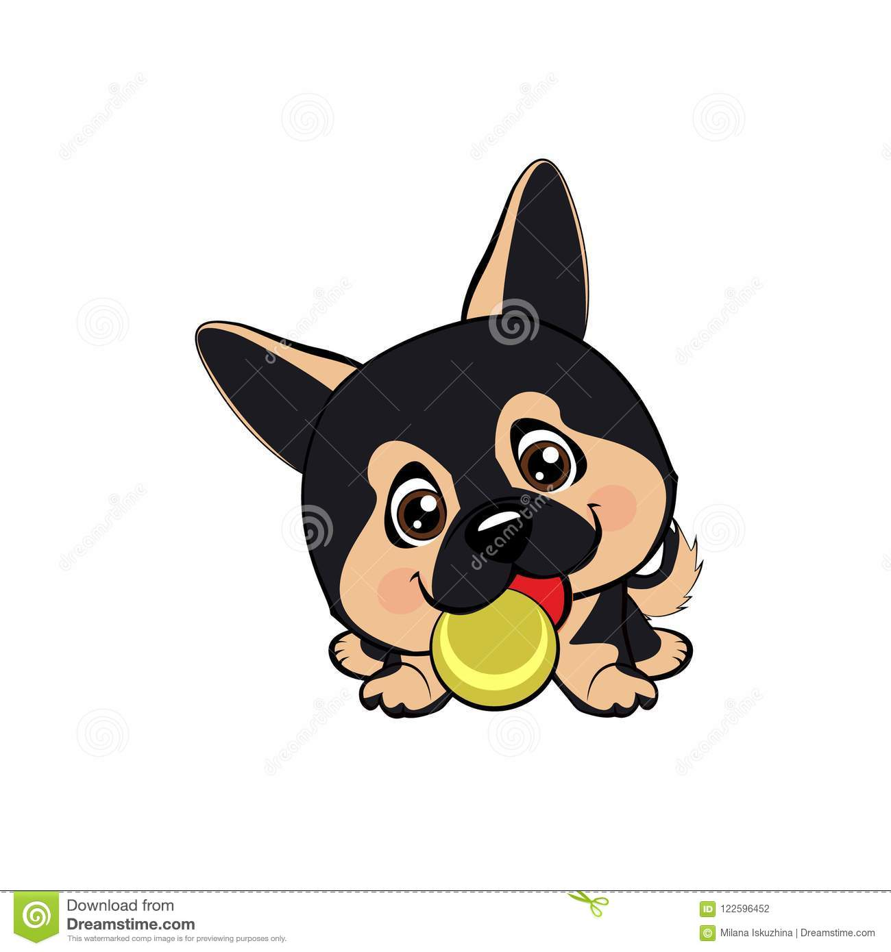 Vector Cartoon Style Drawing Of A Playful Puppy Playing With A