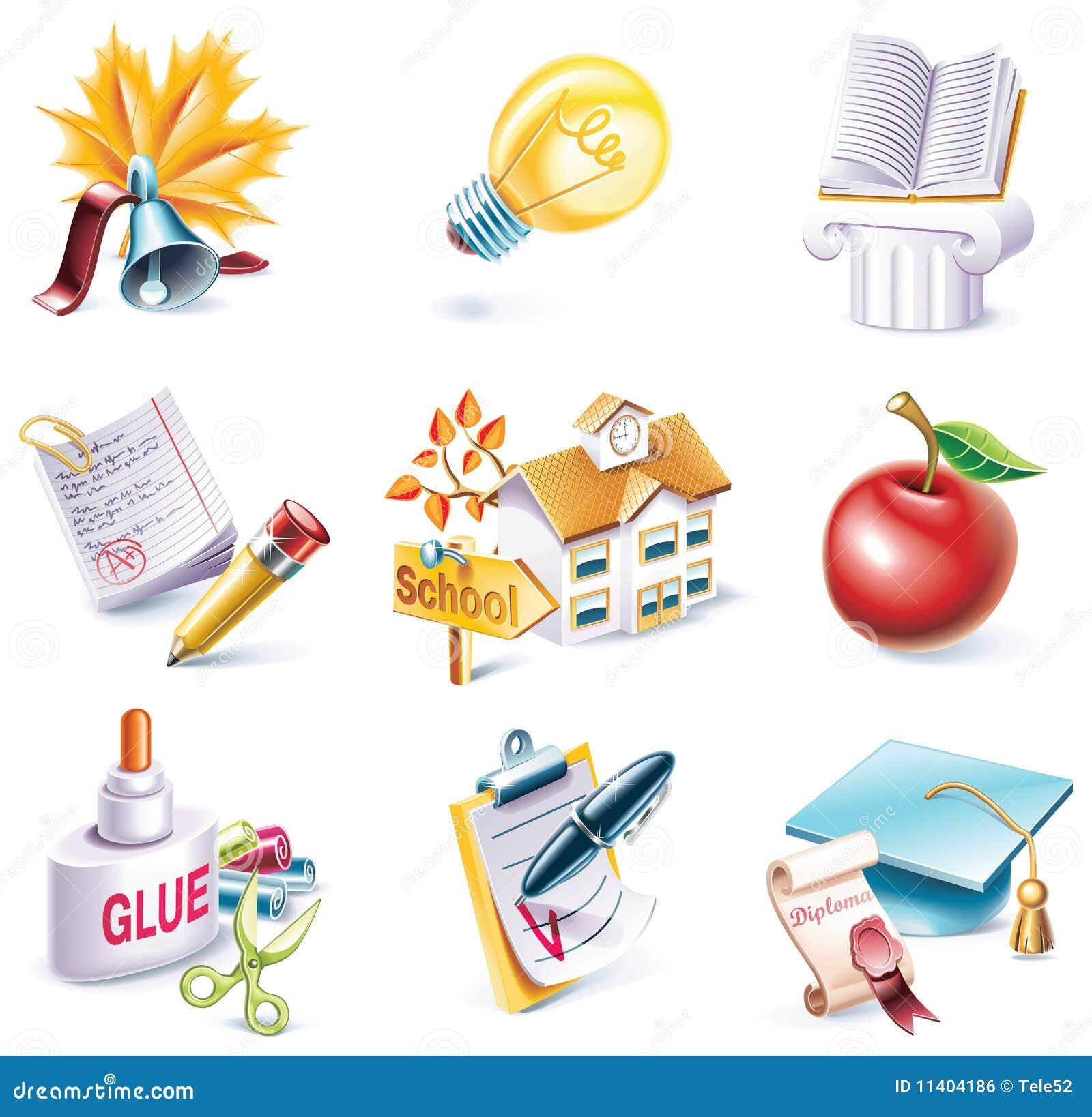 Vector cartoon style icon set. Part 25. School