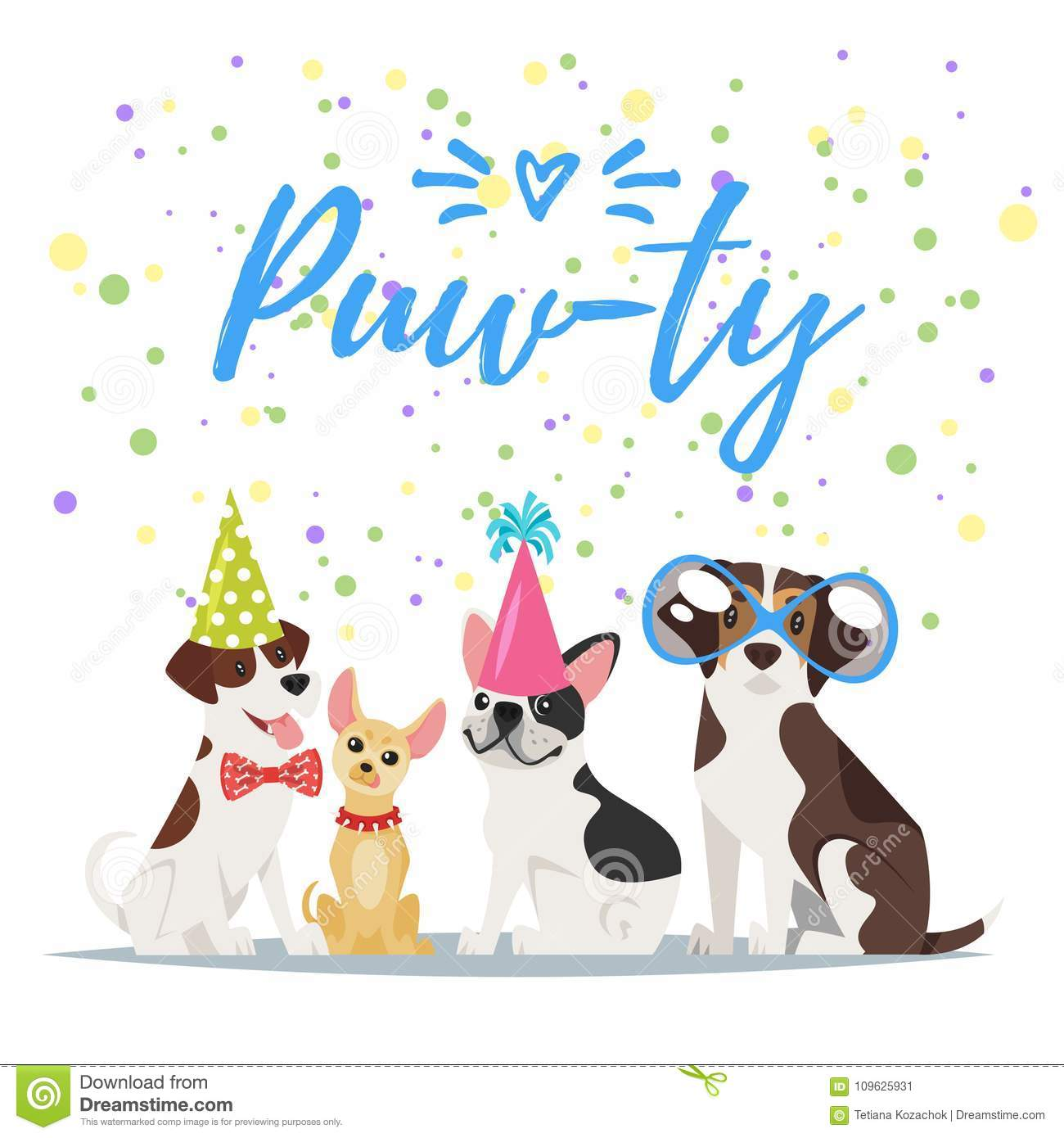Vector Cartoon Style Illustration Of Dog Party Greeting Card With Dogs In Festive Cone Colorful Hats