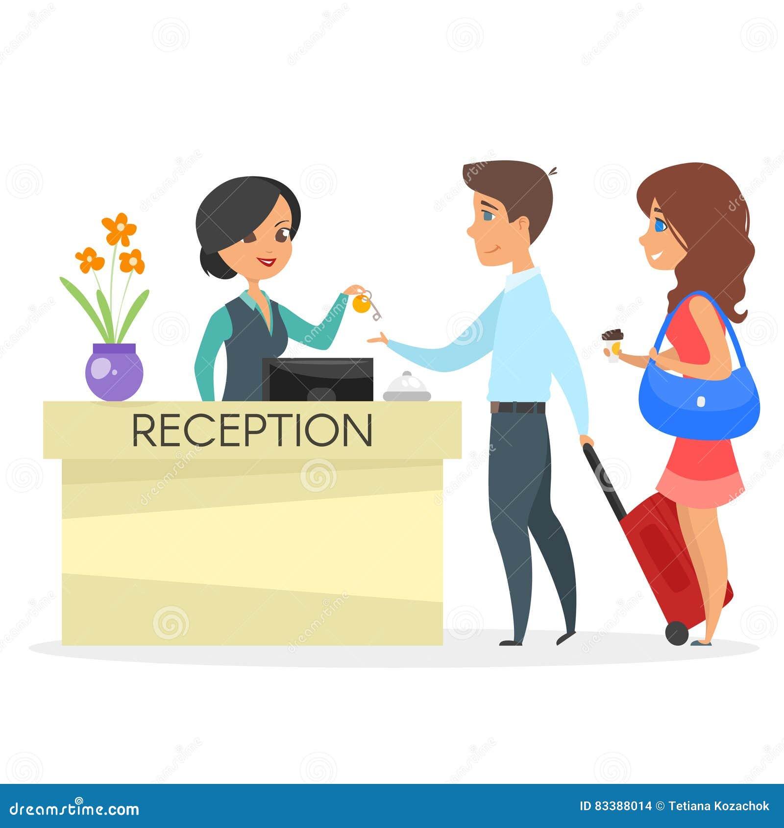 Vector Cartoon Style Illustration Of Hotel Receptionist ...