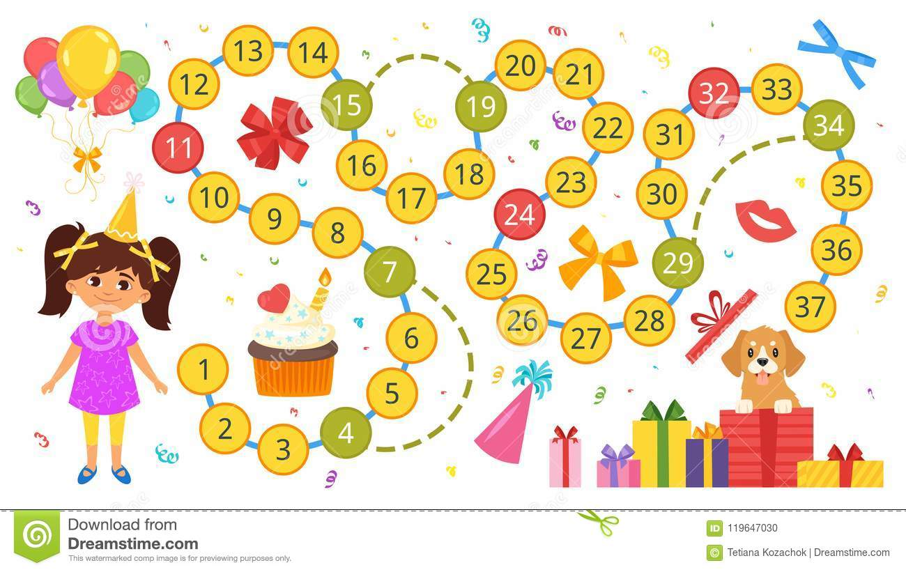 Happy Birthday Board Game Template Stock Vector Illustration Of