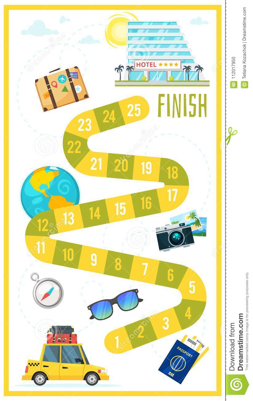 kids travel board game stock vector illustration of booking 112017950