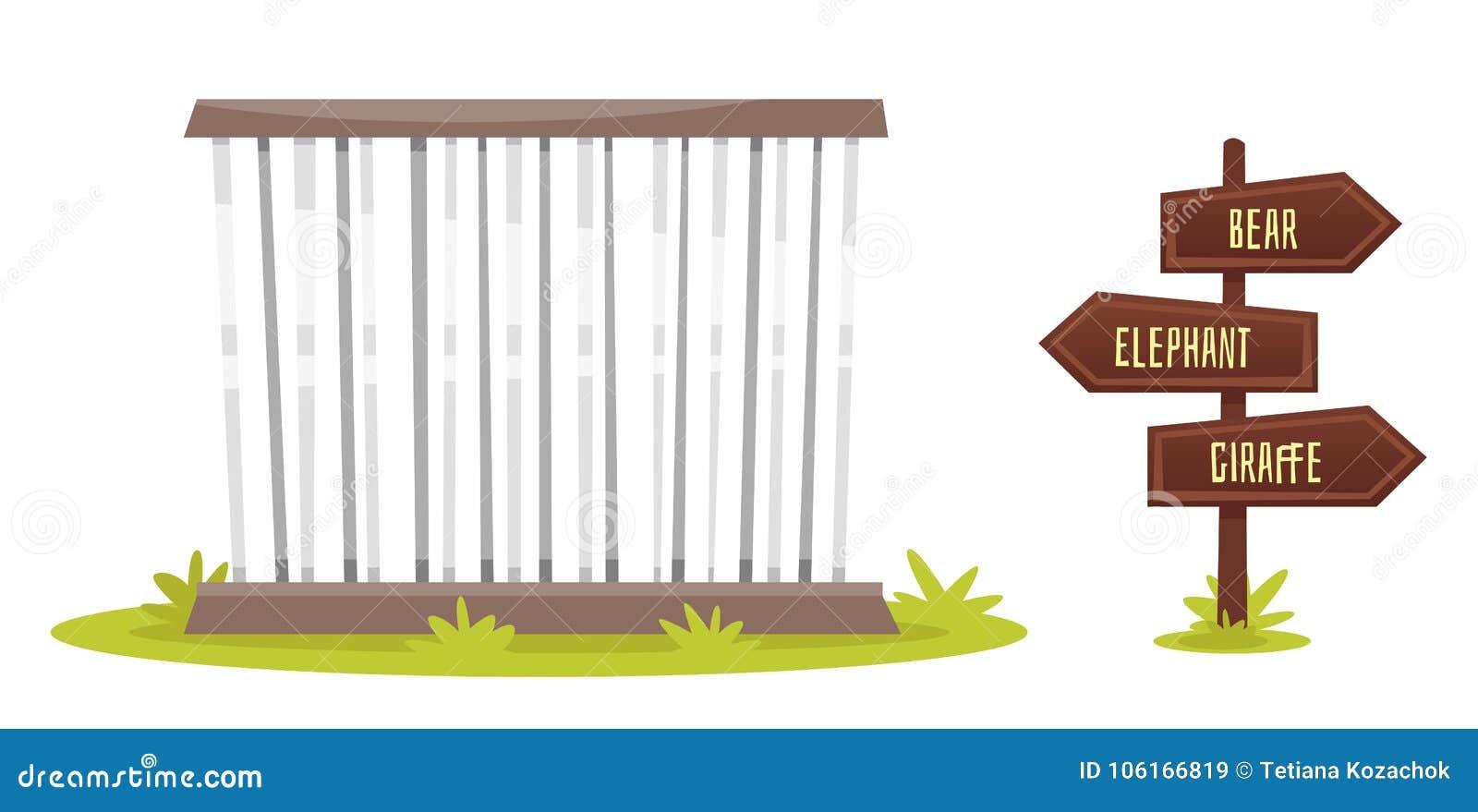Zoo Cage Cartoon Stock Illustrations