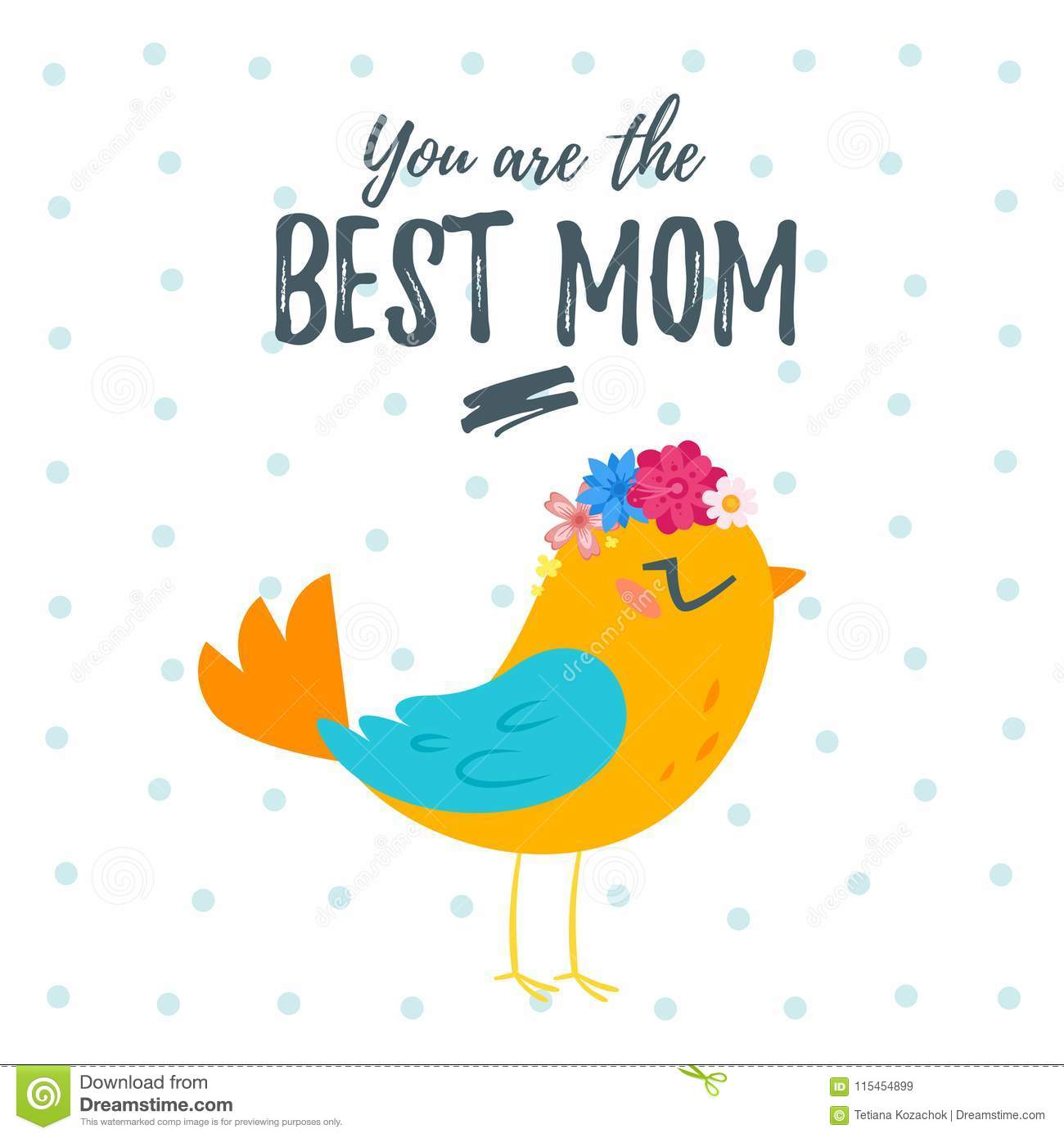 Vector Cartoon Style Template For Mothers Day Greeting Card With Cute Bird Wreath Of Flowers