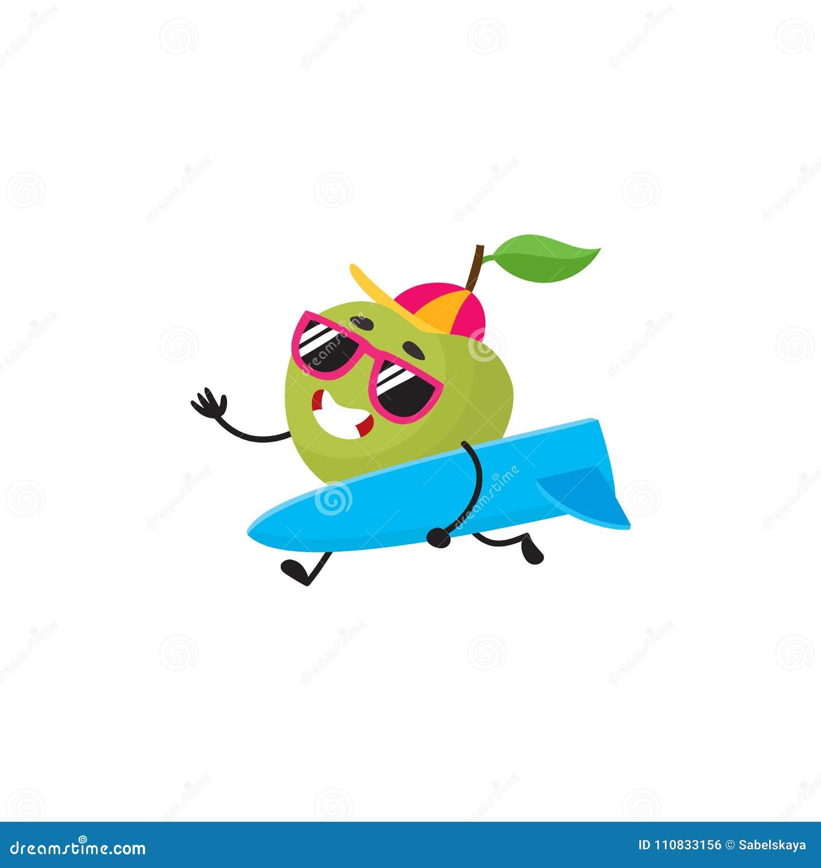 b5d44c6d4c18f Vector Flat Summer Fruit Character Apple Surfing Stock Vector ...