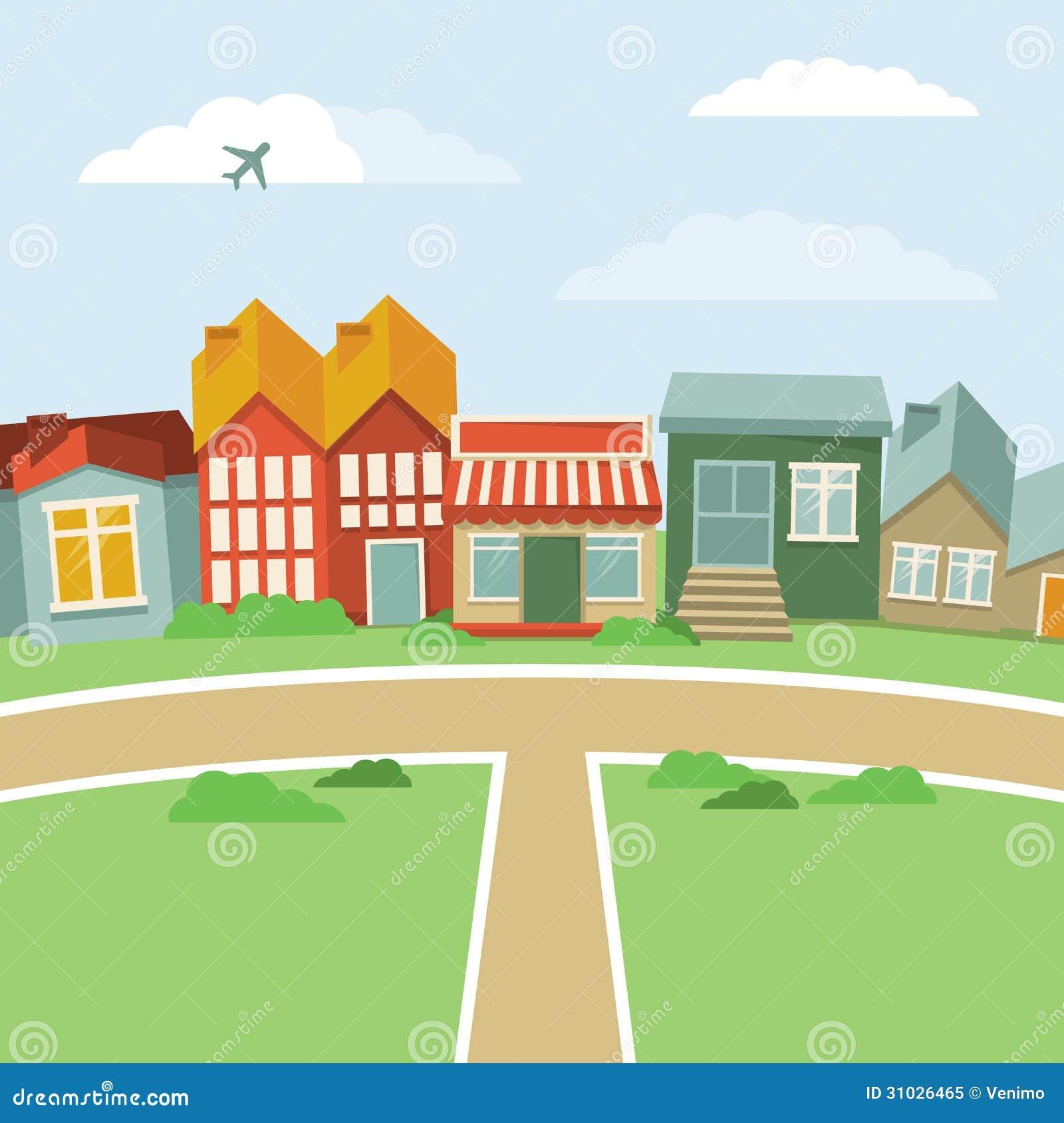 Town Landscape Vector Illustration: Vector Cartoon Town Stock Vector. Illustration Of City
