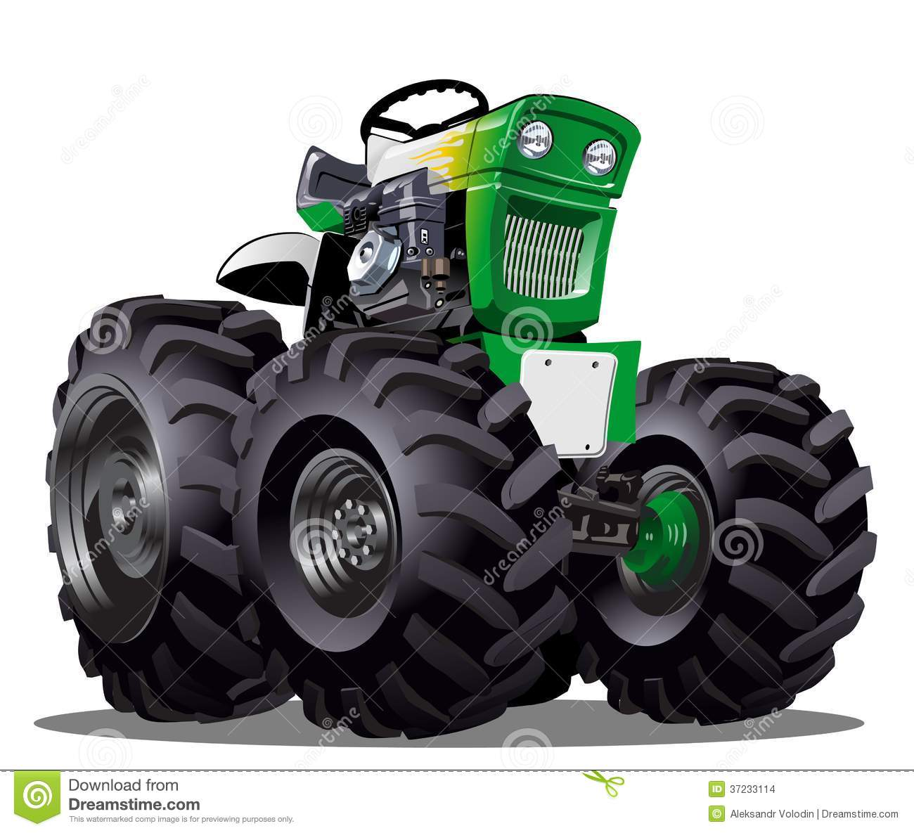 Up The Tractor Green Tractor With Bucket Cartoon : Vector cartoon tractor stock illustration of