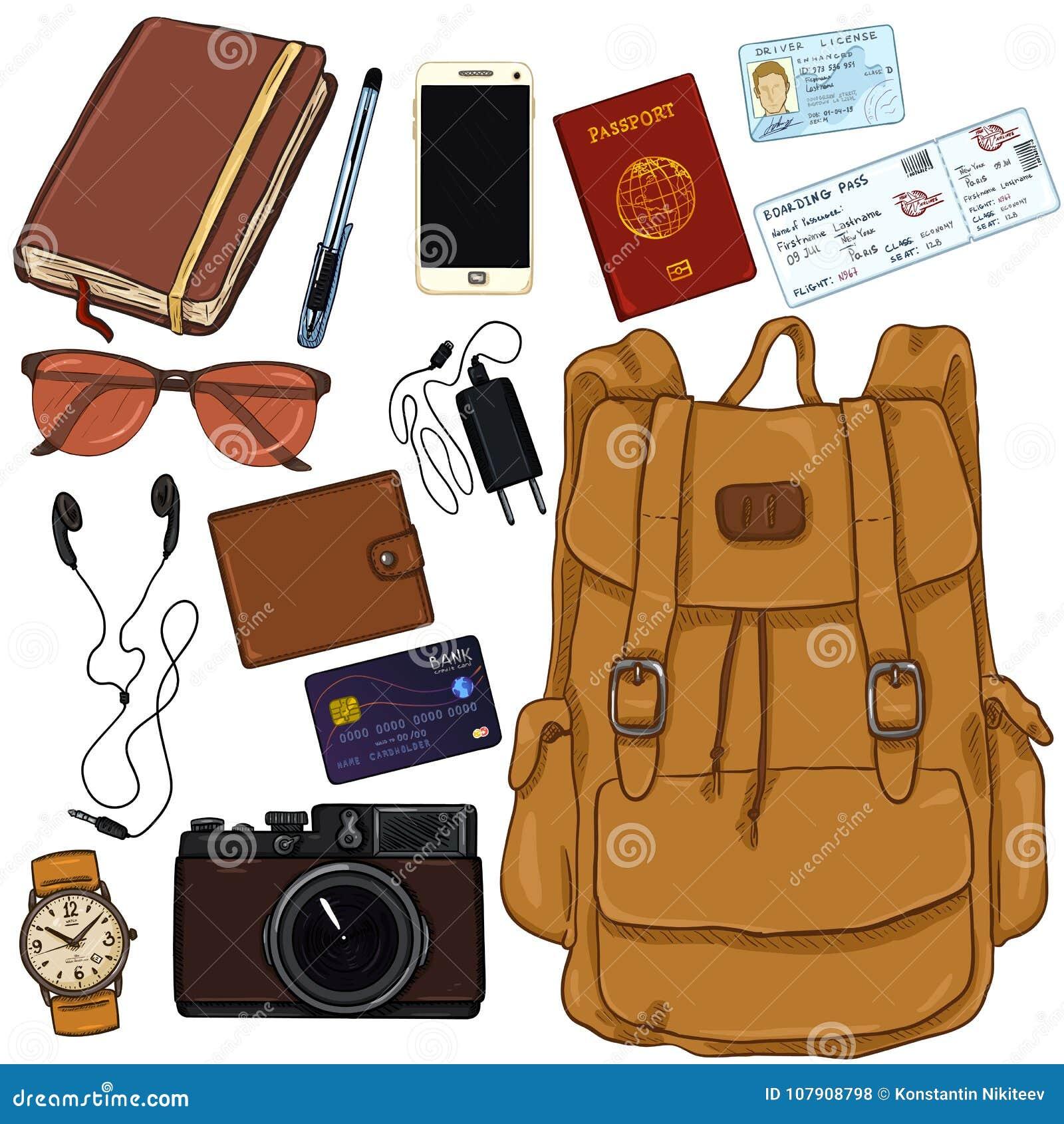 Vector Cartoon Travel Set. Personal Belongings For Journey ...
