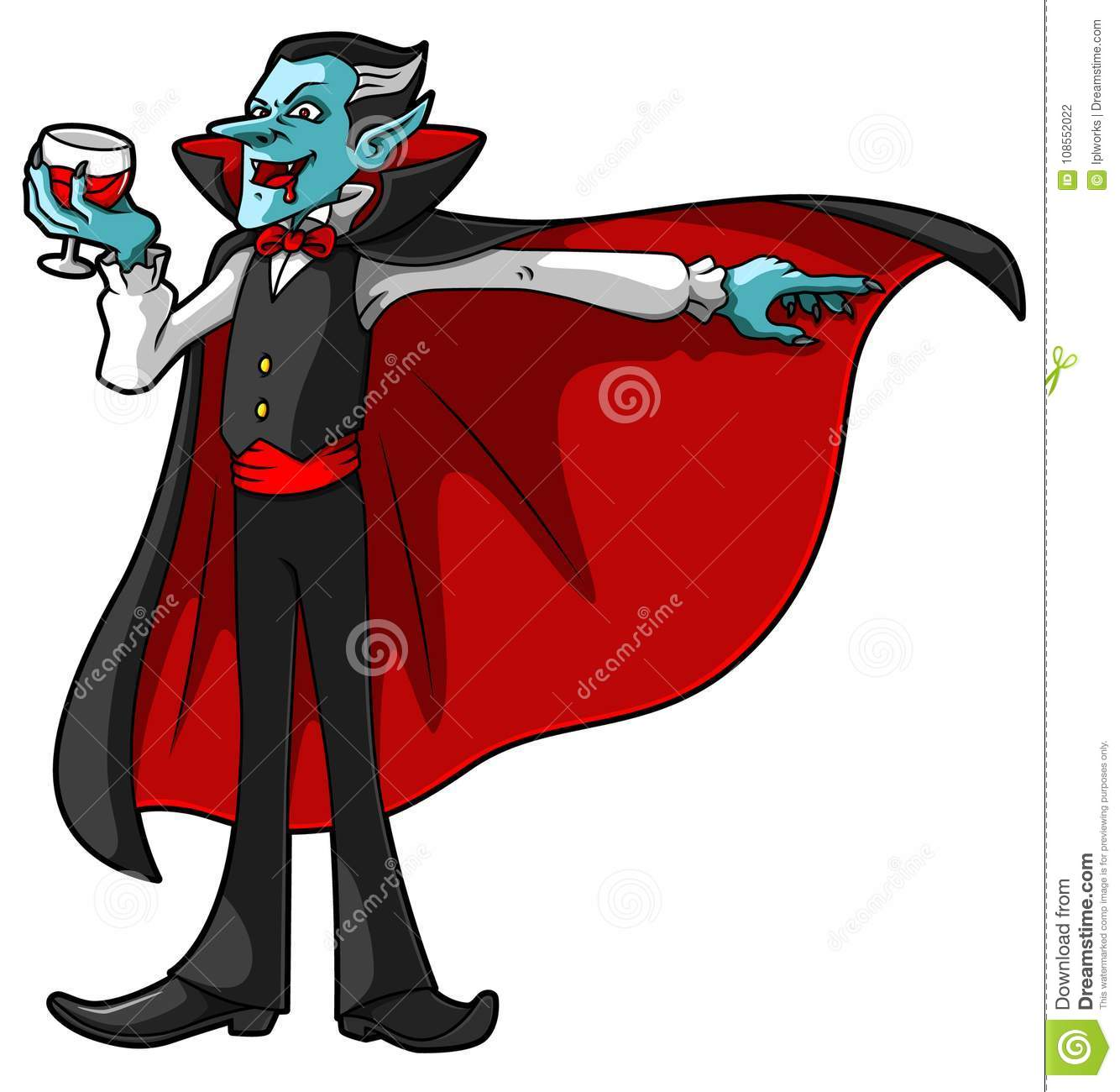 vector cartoon vampire with glass of blood stock vector