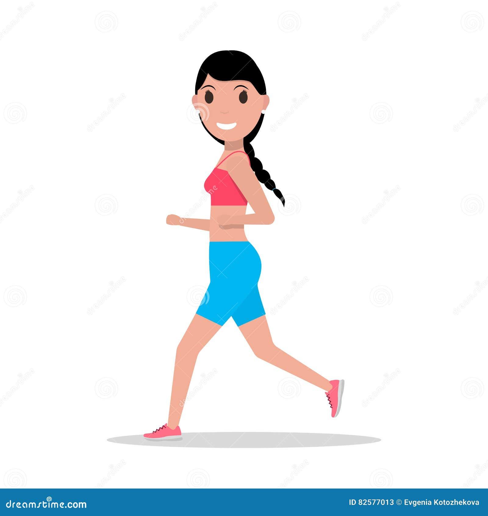 Cartoon Woman Jogging Cartoon Vector