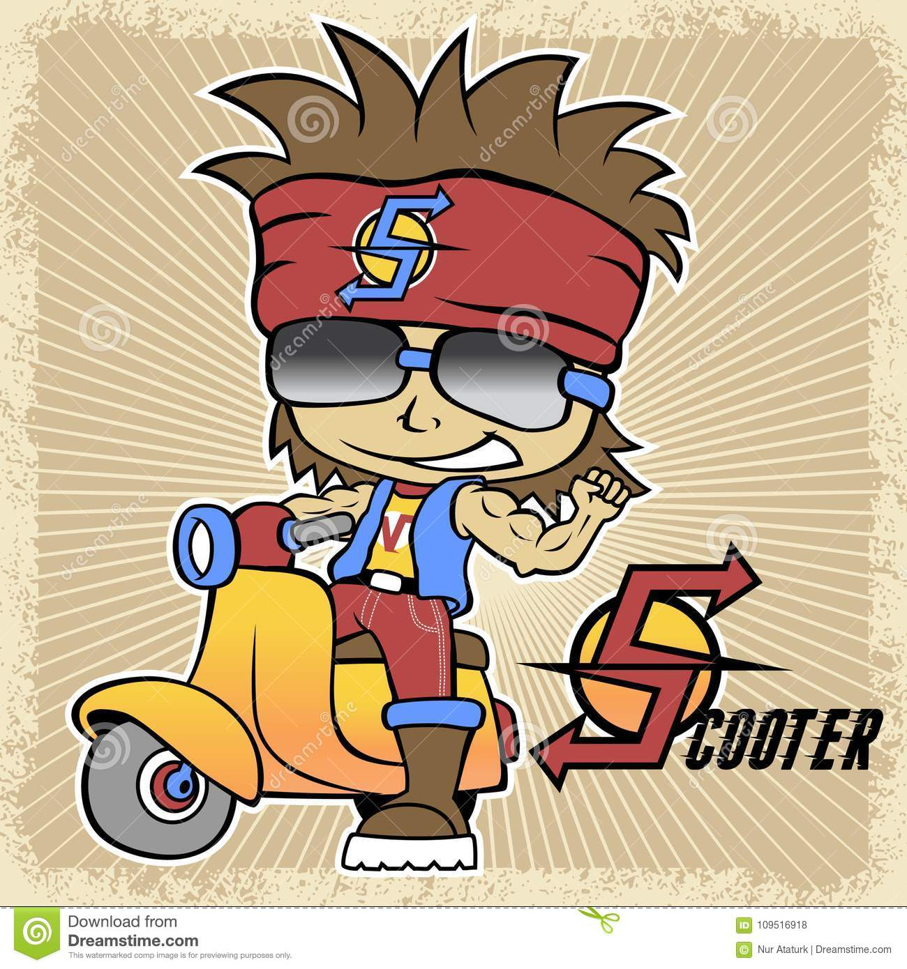 Vector cartoon of young boy on scooter