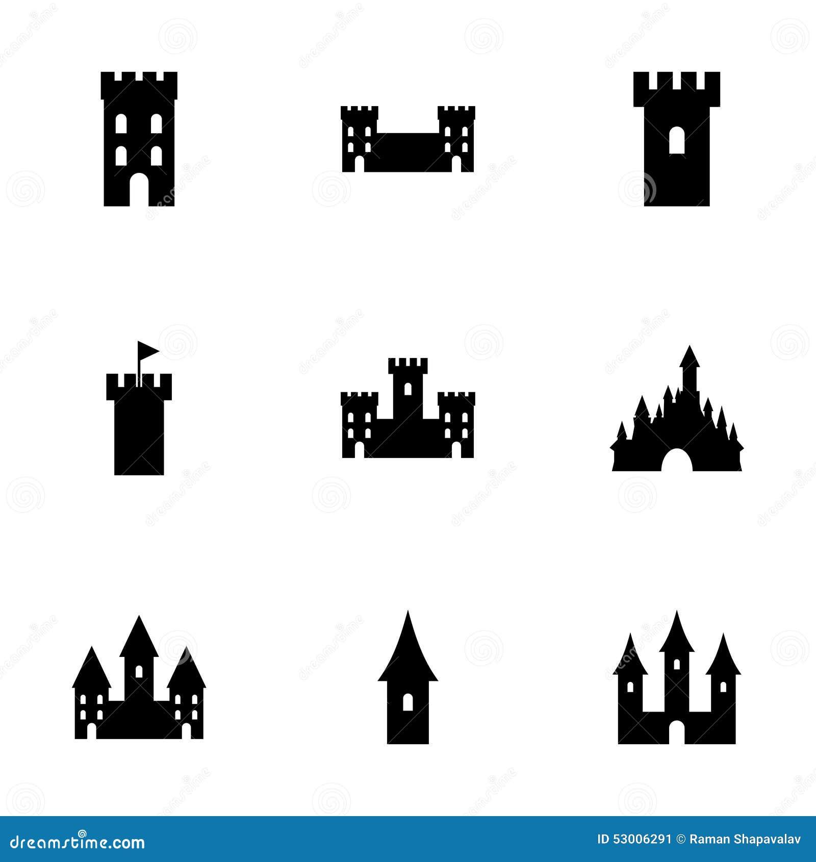 Vector Castle Icon Set Stock Vector Image 53006291