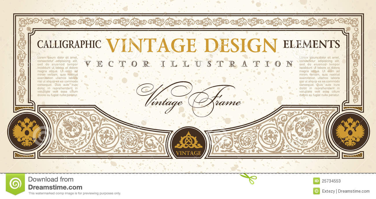 Vector Certificate Coupon Template Design Vintage Stock