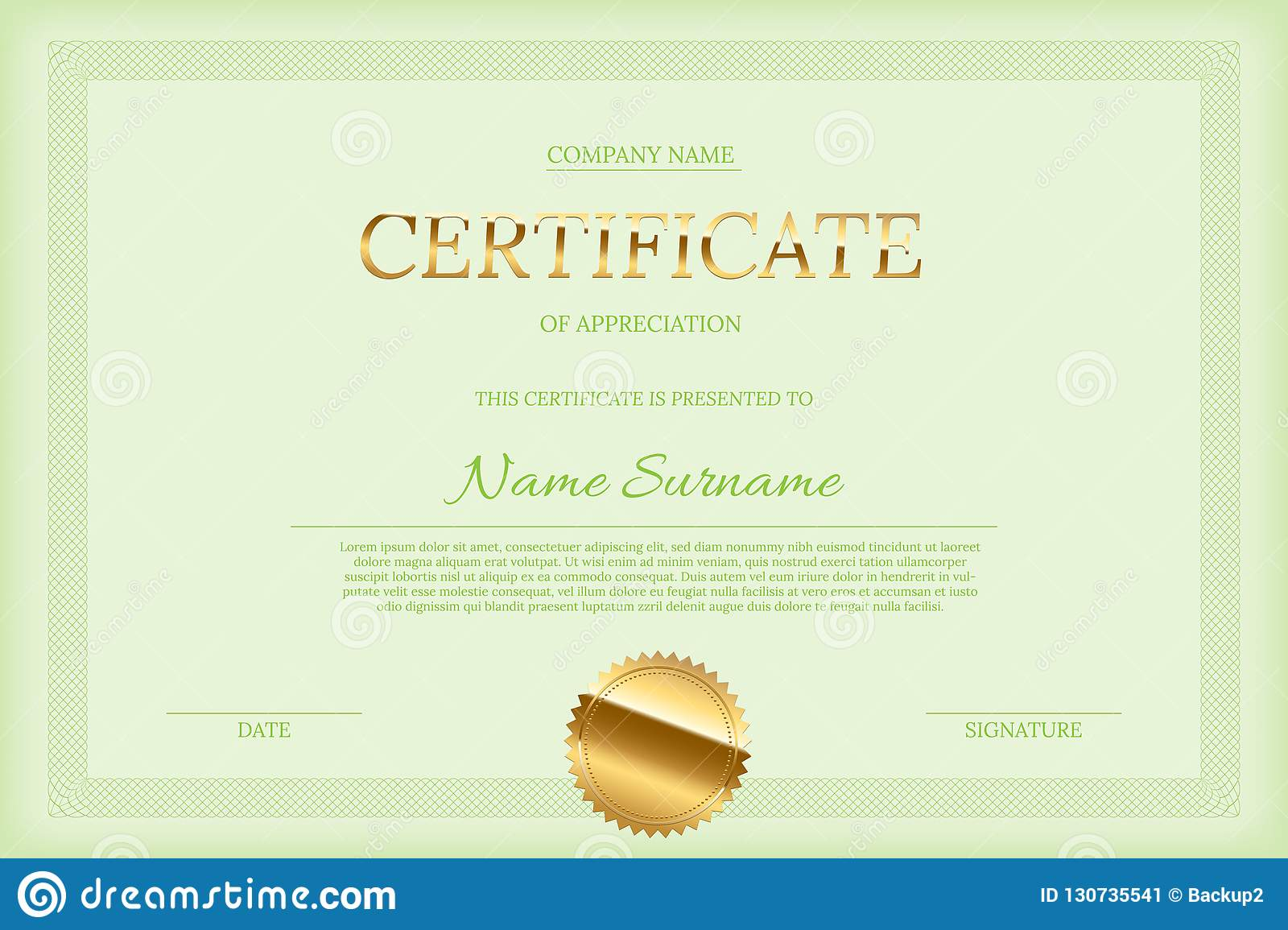 Vector Certificate Design Template Golden Certificate Word