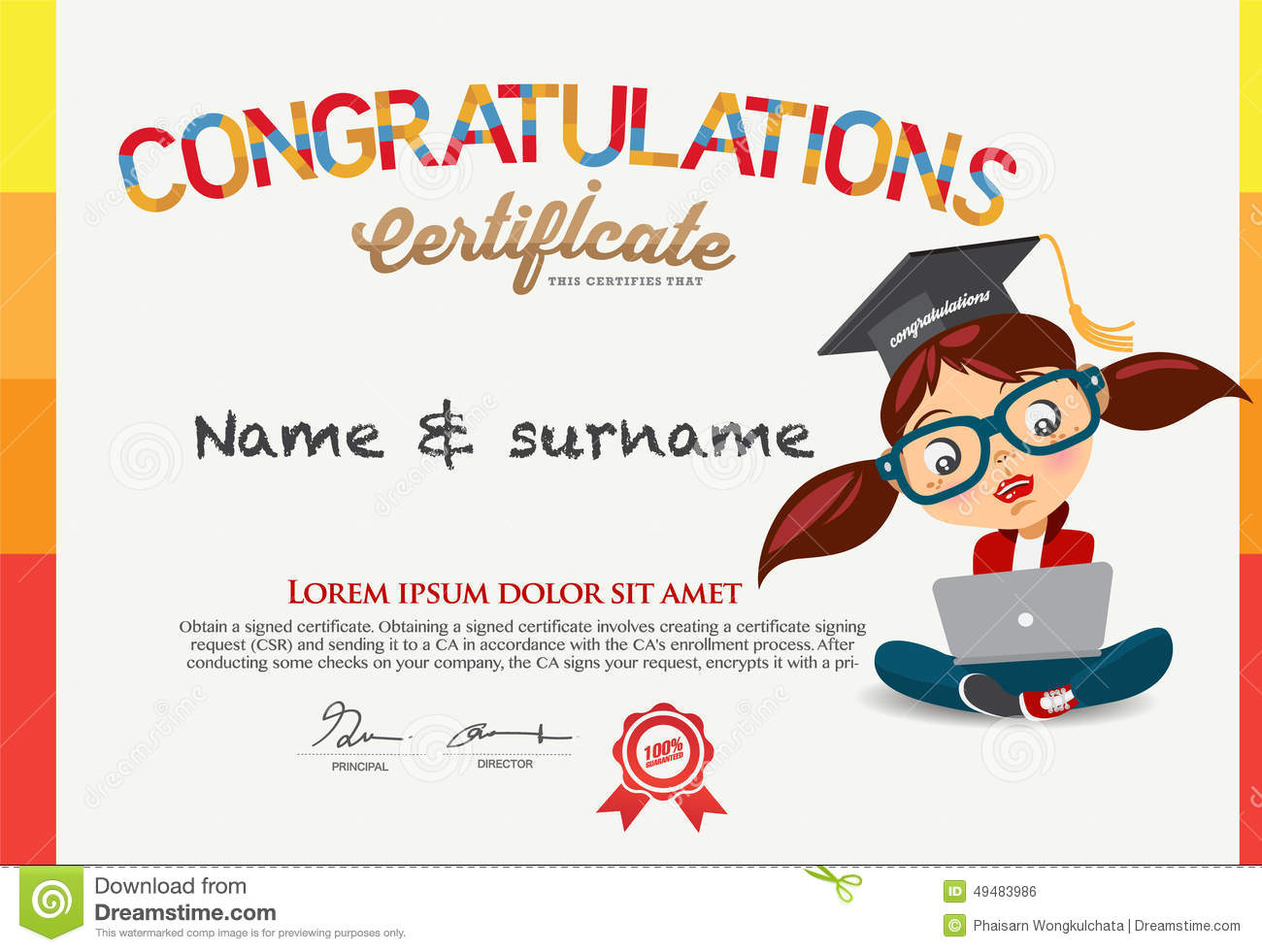 vector certificate for school children template. stock vector