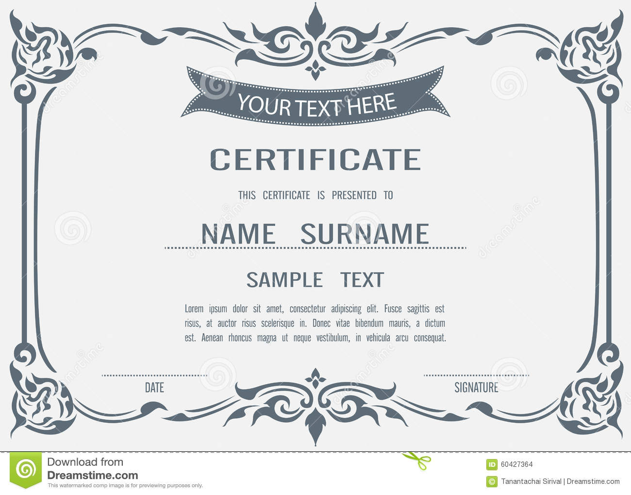 vector certificate template stock vector illustration of antique