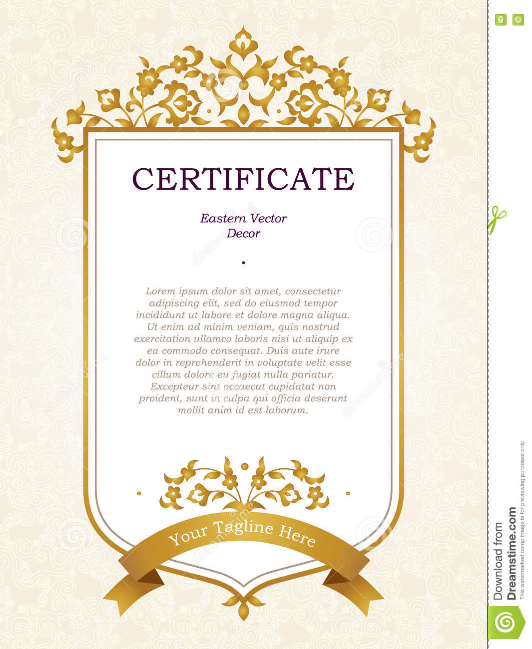 Elegant Marriage Certificate Template Golden Edition: Vector Certificate Template In Eastern Style. Stock Vector