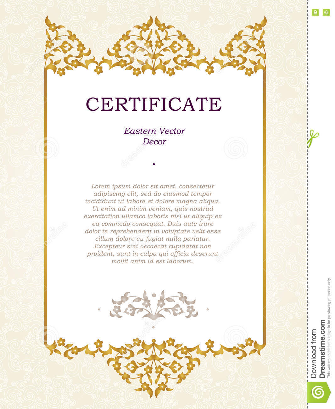 Elegant Marriage Certificate Template Golden Edition: Vector Certificate Template In Eastern Style. Stock