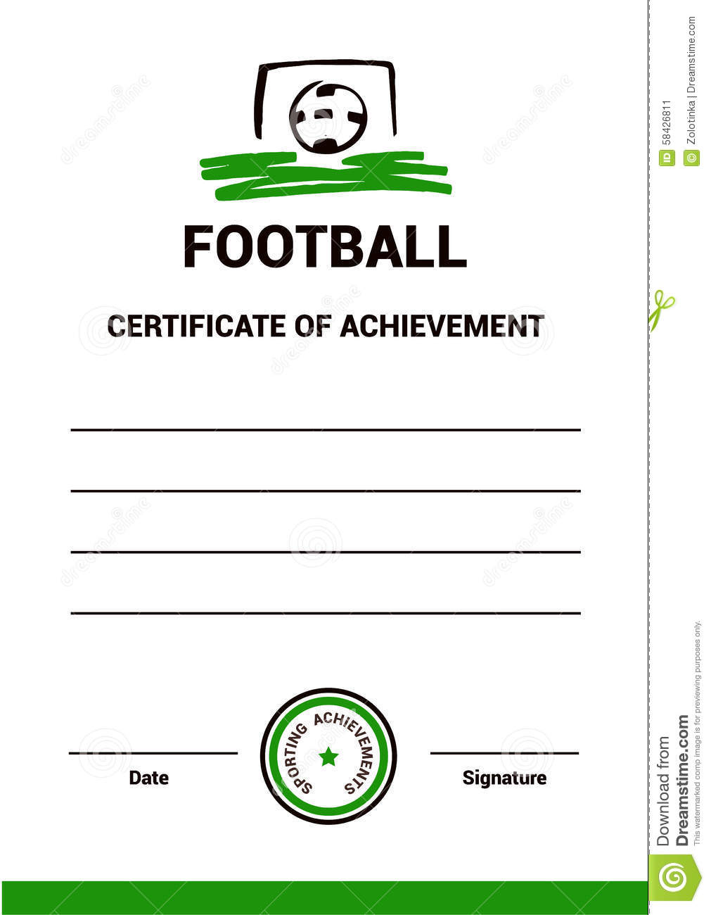 Vector Certificate Template Football Stock Vector