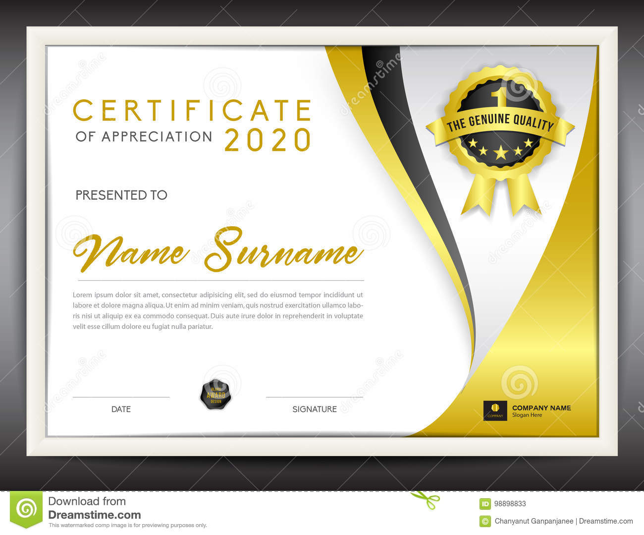 vector certificate template gold flyer template stock vector