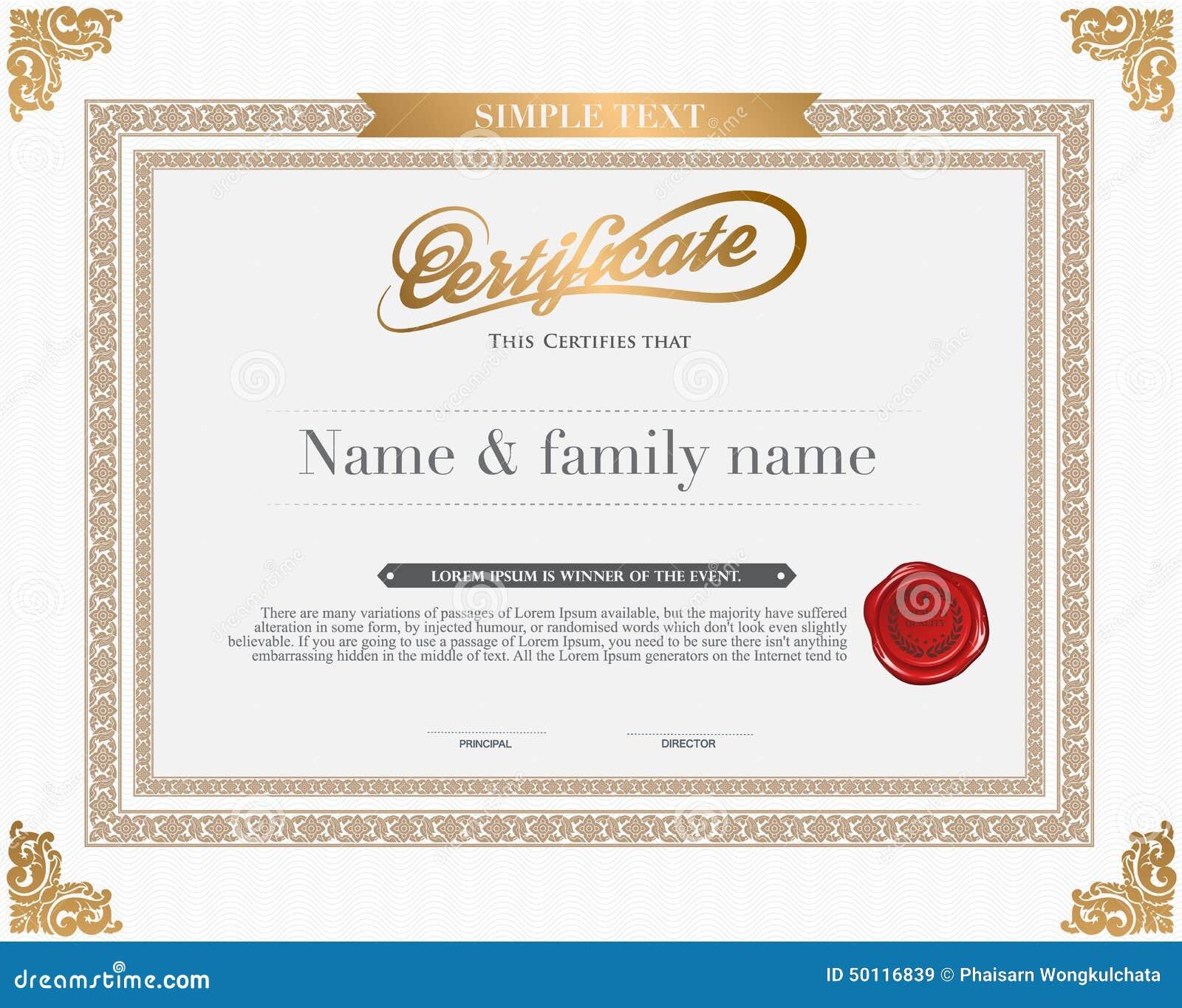 Vector Certificate Template Stock Vector Illustration Of