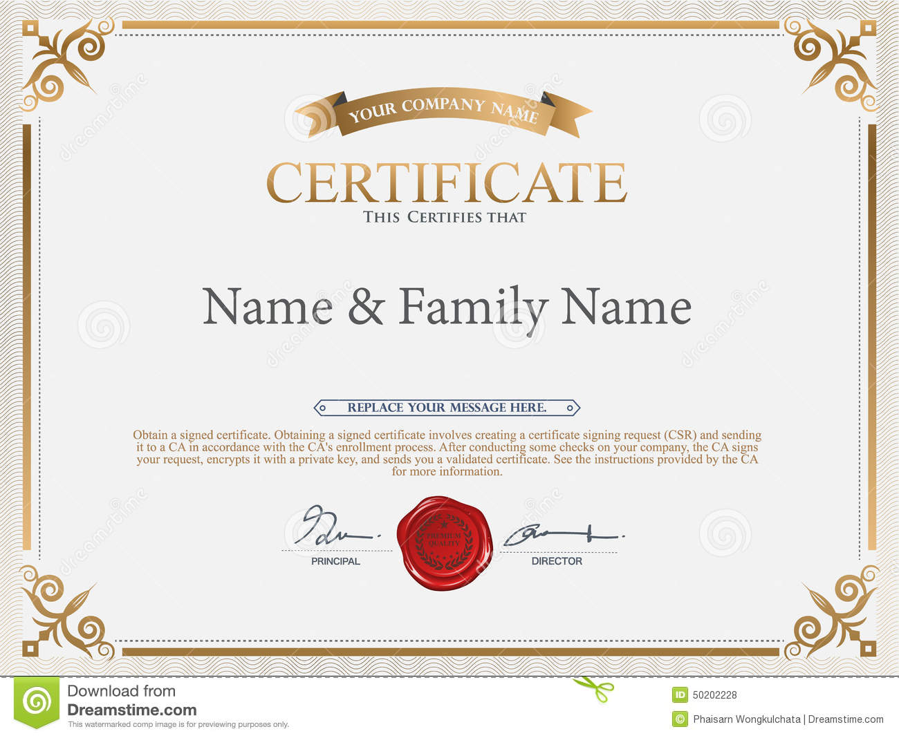 Vector Certificate Template Stock Vector Image 50202228