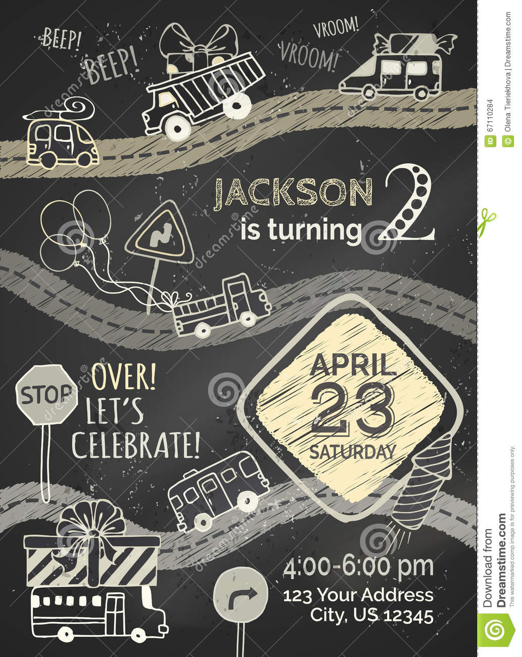 Vector Chalk Birthday Invitation Template On Blackboard Background