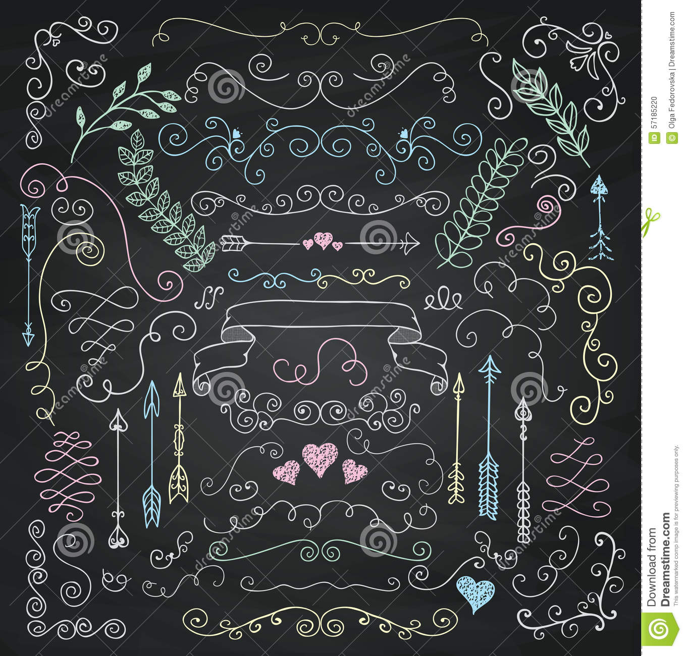 Rustic Scroll Design: Vector Chalk Drawing Rustic Floral Design Elements Stock