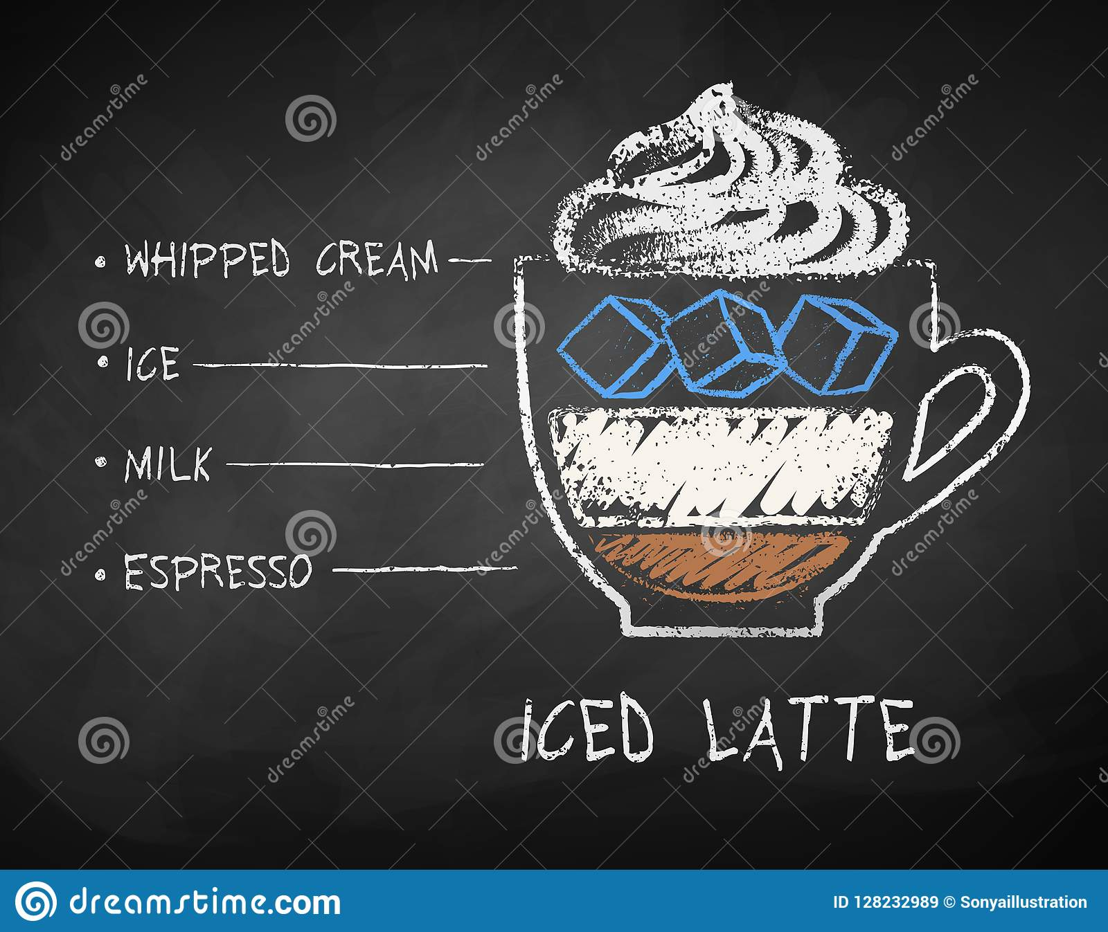 Vector Chalk Drawn Sketch Of Iced Latte Coffee Stock