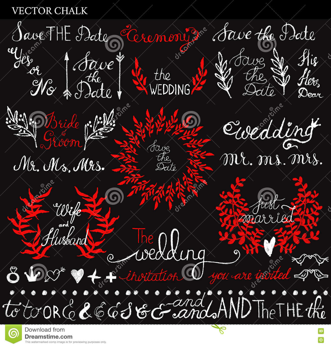 Vector Chalk Wedding Save The Date Lettering Stock Vector ...
