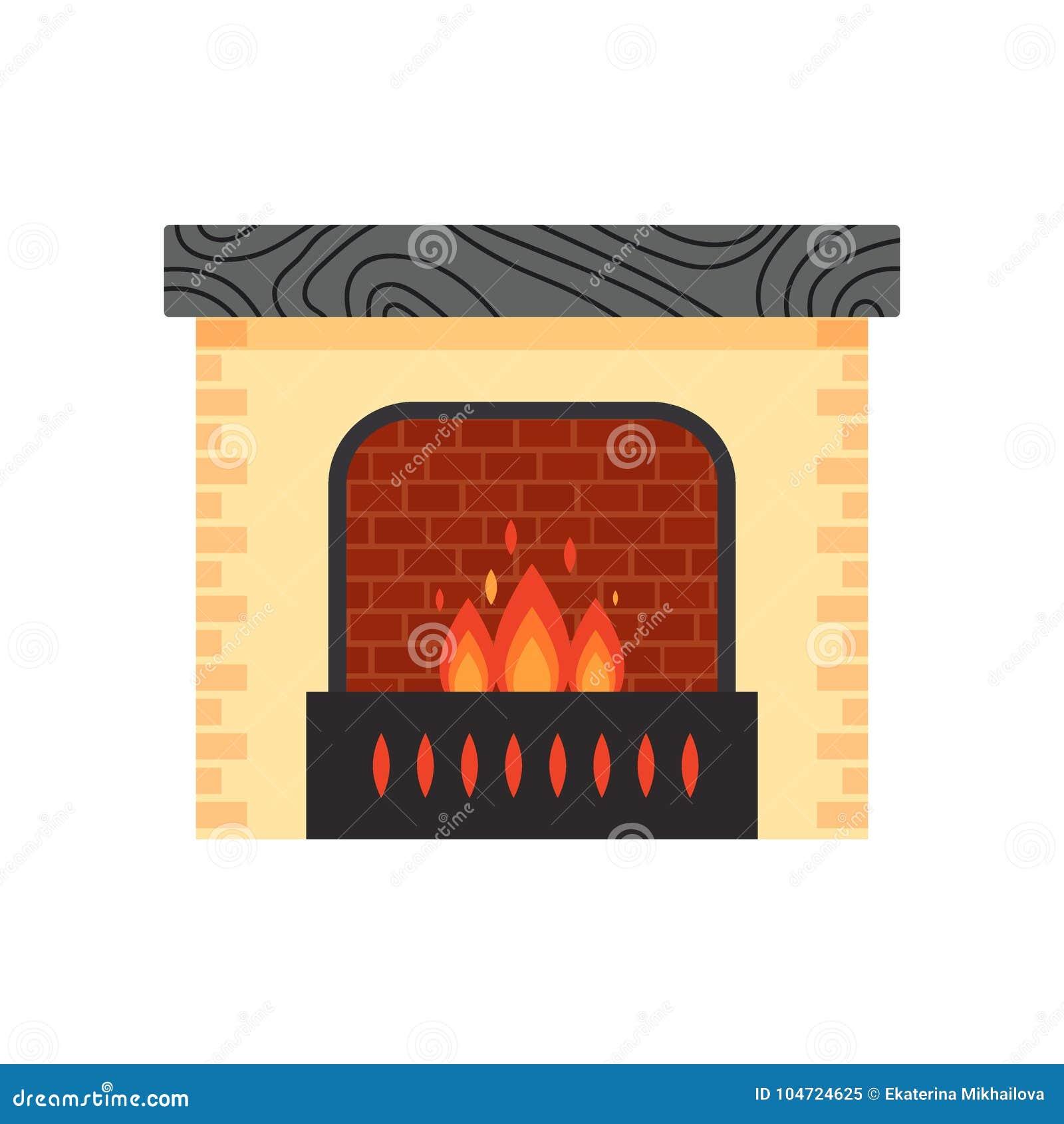 Vector a chaminé home colorida diferente com o fogo isolado no fundo branco Elementos do projeto para o interior da sala dentro