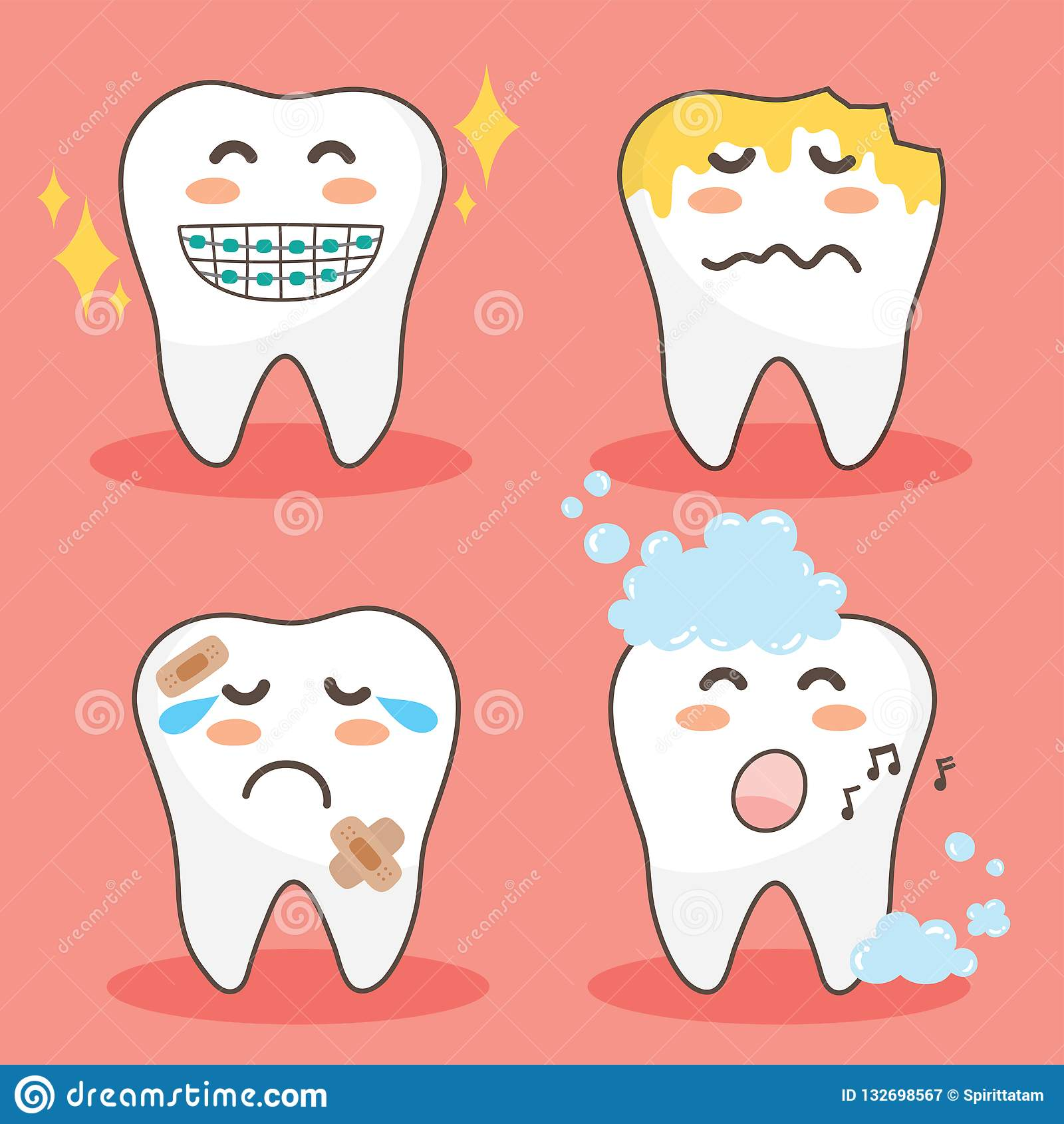 Vector Character Happy And Funny Teeth Set Illustration Doodle Drawing Cute Design Tooth Stock Vector Illustration Of Decayed Flat 132698567