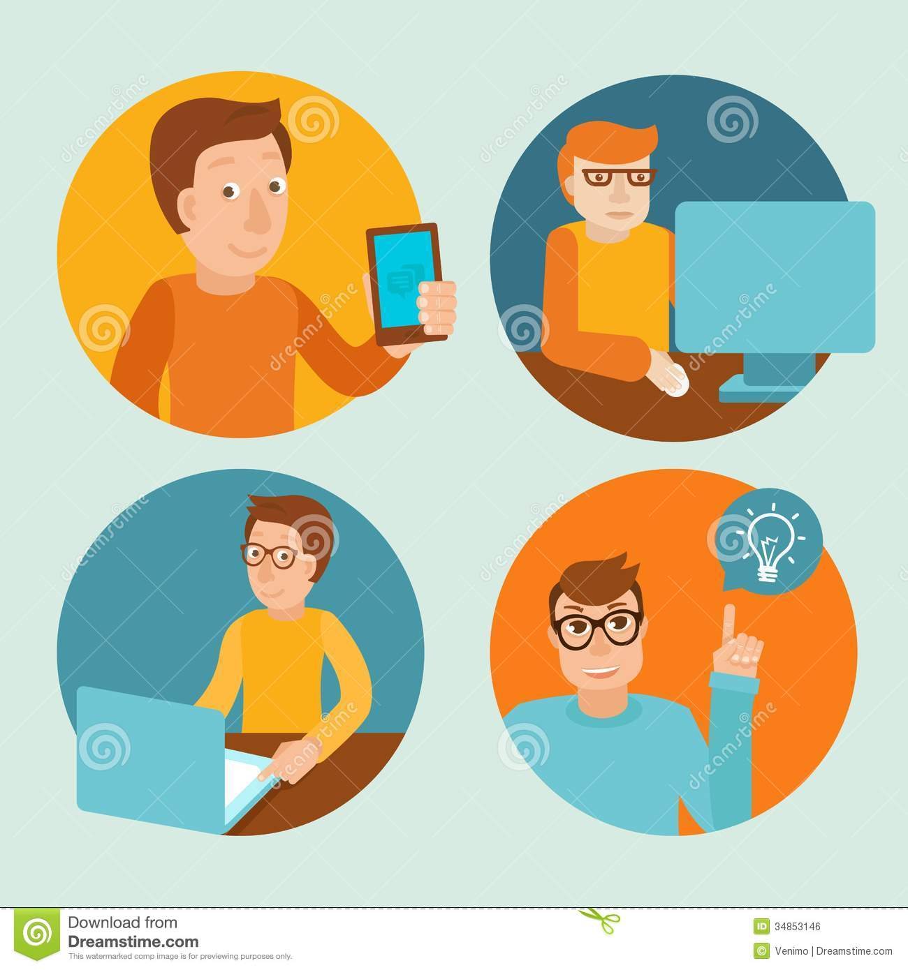 Vector Characters Working At Computers Stock Vector